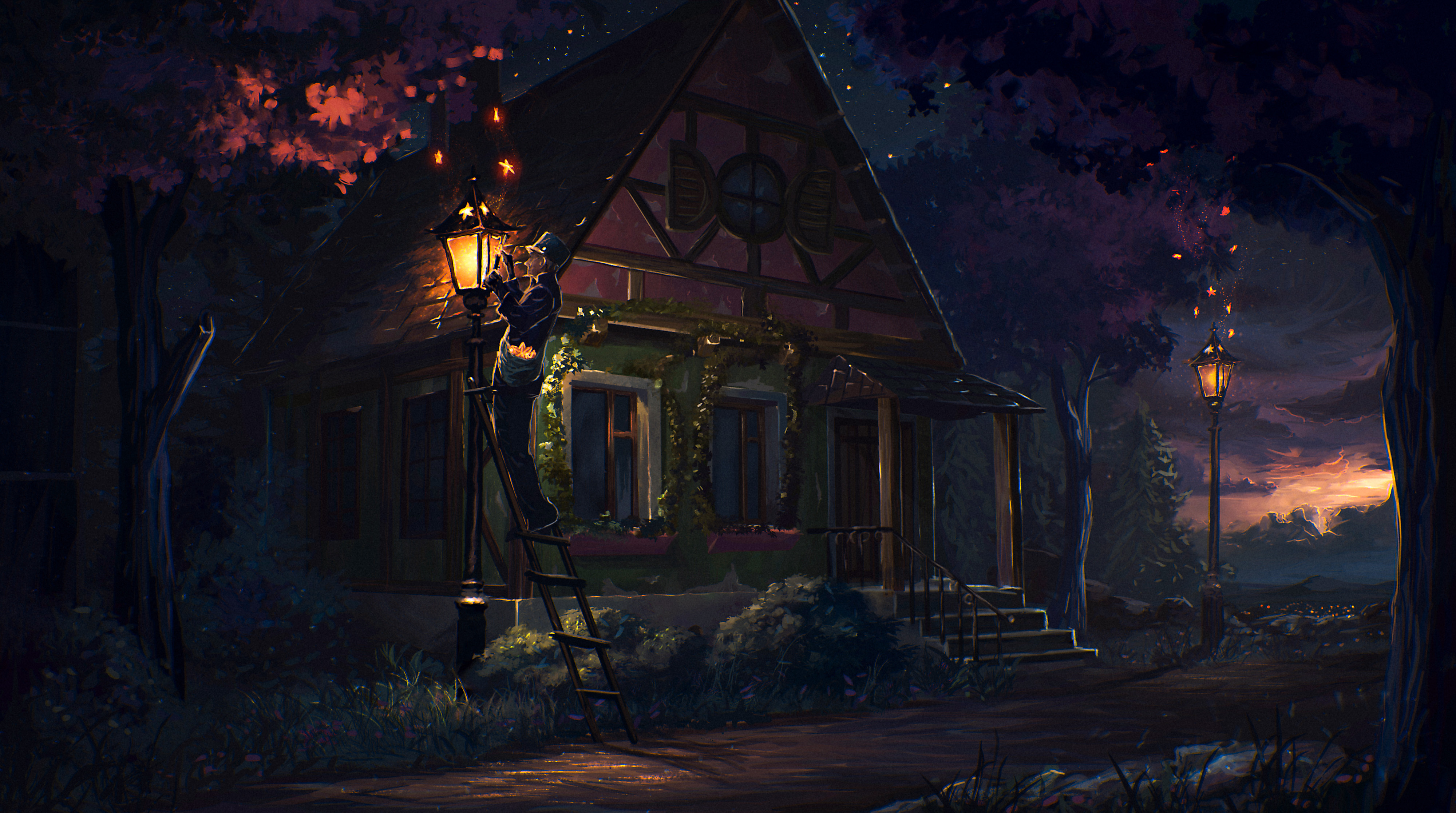 107882 download wallpaper Fantasy, House, Story, Fairy Tale, Art, Lamp, Lantern, Night screensavers and pictures for free