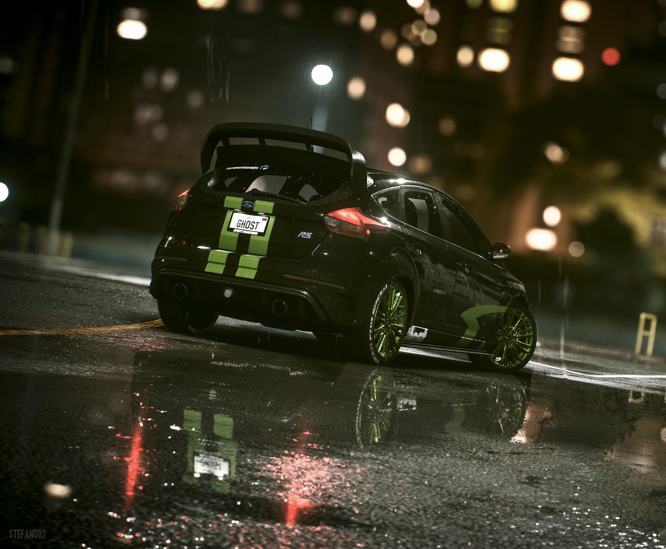 124254 скачать обои Дождь, Форд (Ford), Тачки (Cars), Ford Focus, Ford Focus Rs - заставки и картинки бесплатно
