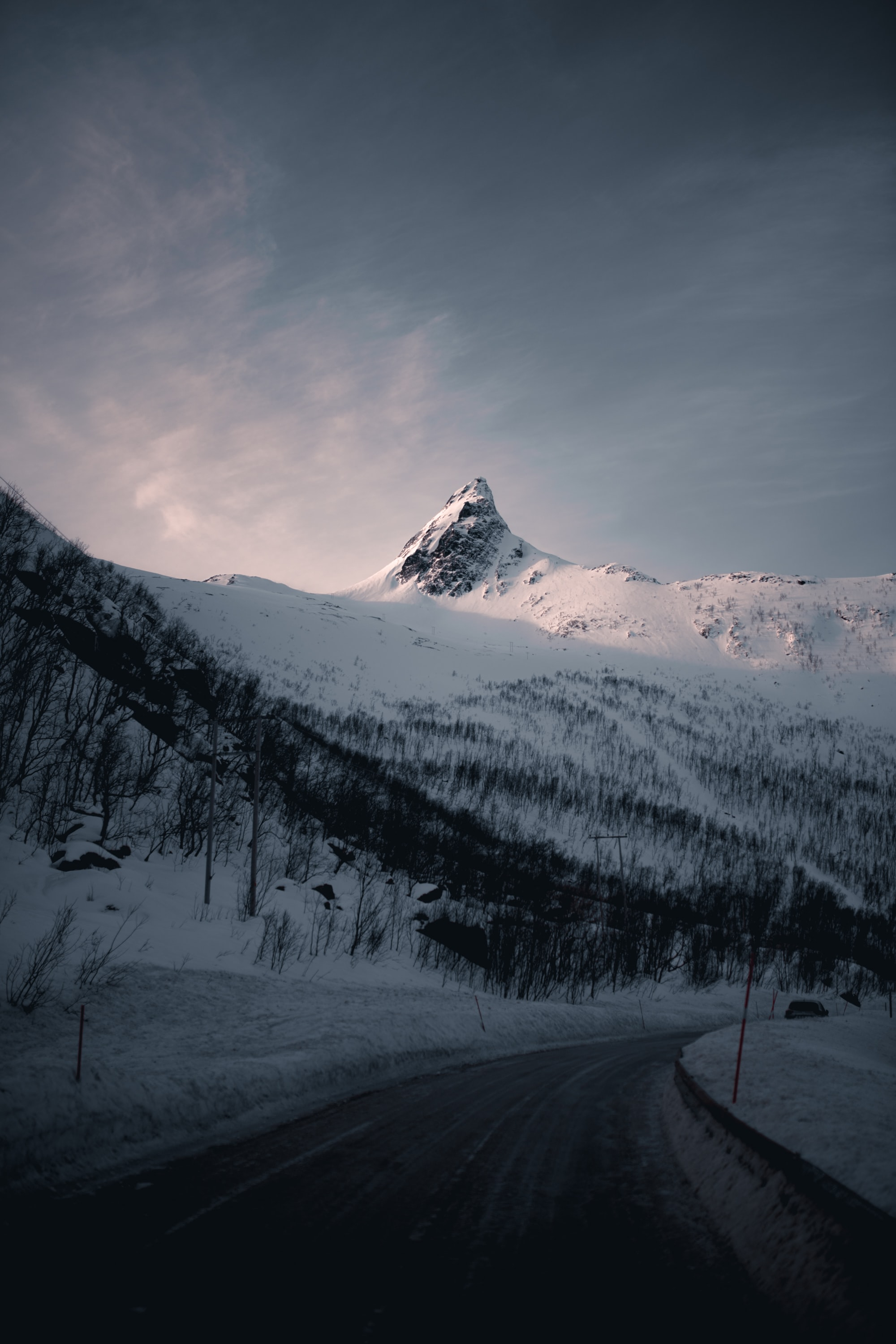 84788 download wallpaper Nature, Mountain, Vertex, Top, Road, Snow Covered, Snowbound screensavers and pictures for free