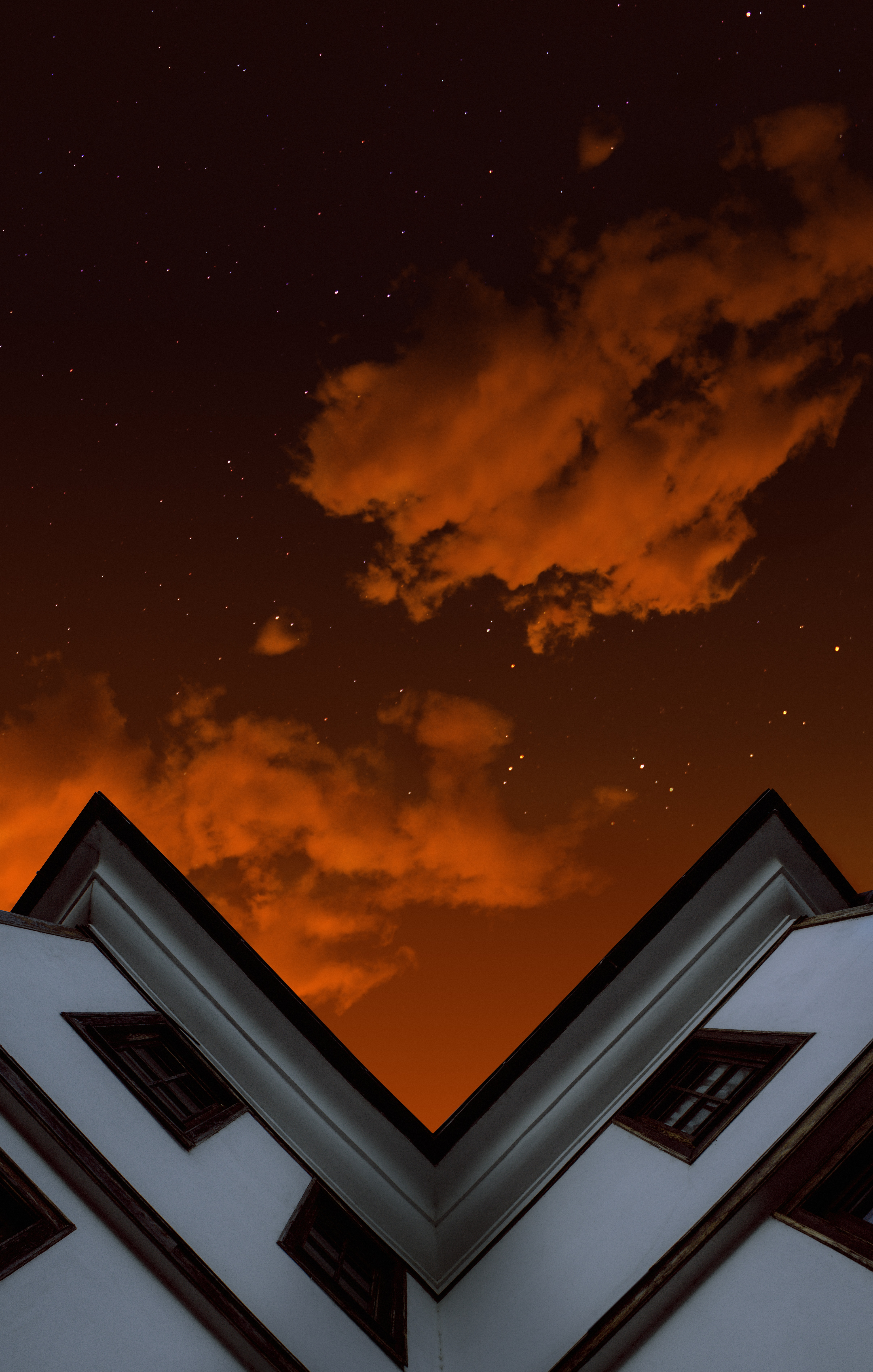 156074 скачать обои Разное, Крыша, Небо, Облака, Ночь, Вид Снизу - заставки и картинки бесплатно