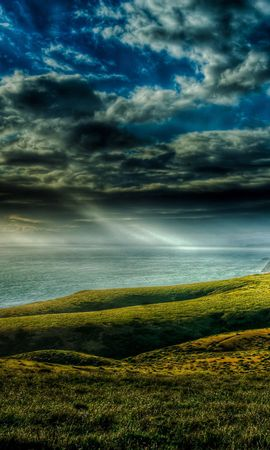 63625 скачать обои Природа, Закат, Море, Берег, Пейзаж - заставки и картинки бесплатно