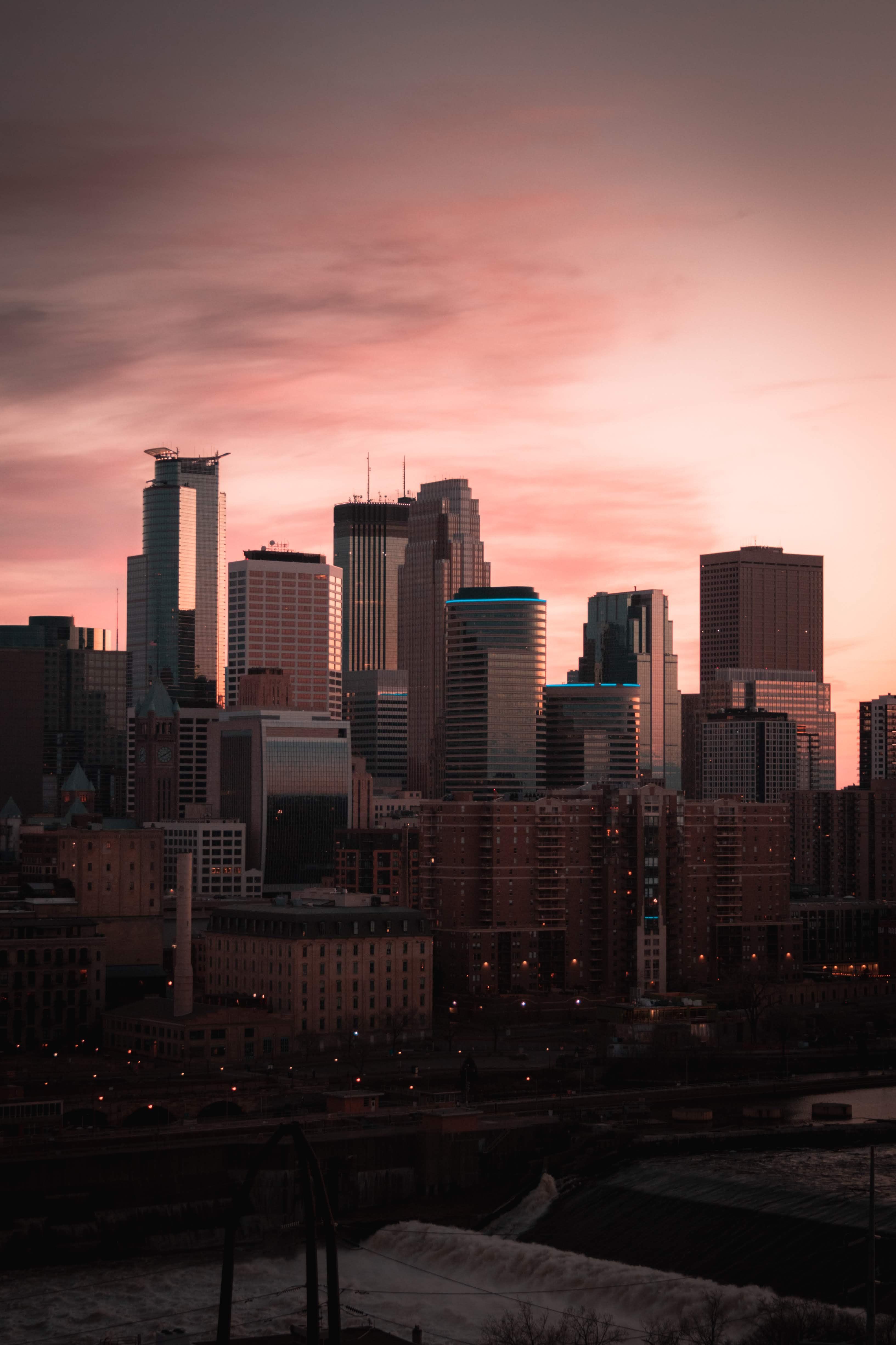 158084 免費下載壁紙 建造, 建筑物, 城市, 从上面看, 顶视图, 日落, 黄昏 屏保和圖片
