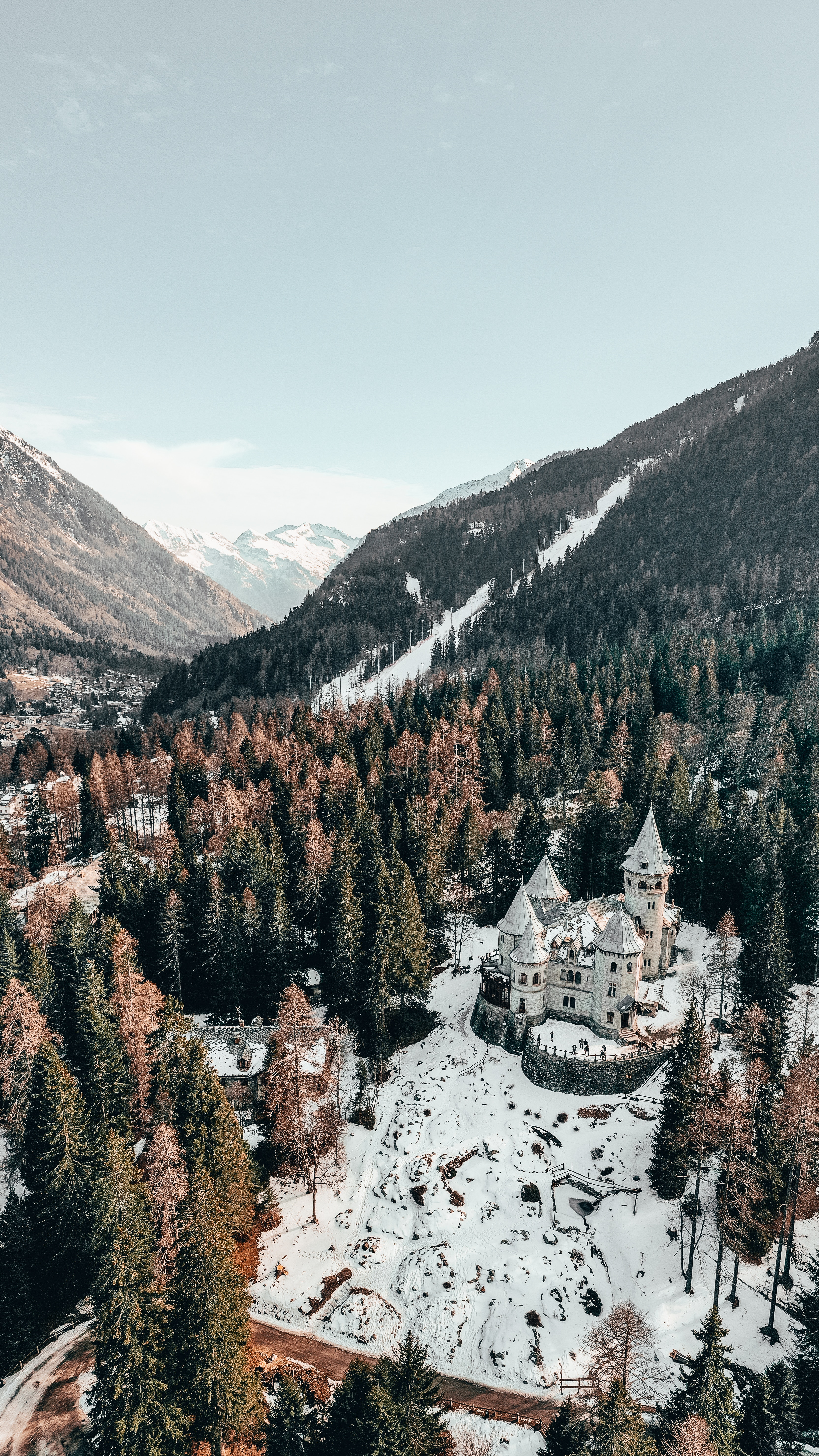 143427 Screensavers and Wallpapers Lock for phone. Download Winter, Nature, Trees, Snow, Italy, Lock, View From Above, Forest pictures for free