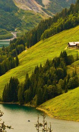 20099 скачать обои Пейзаж, Река, Деревья, Горы, Елки - заставки и картинки бесплатно