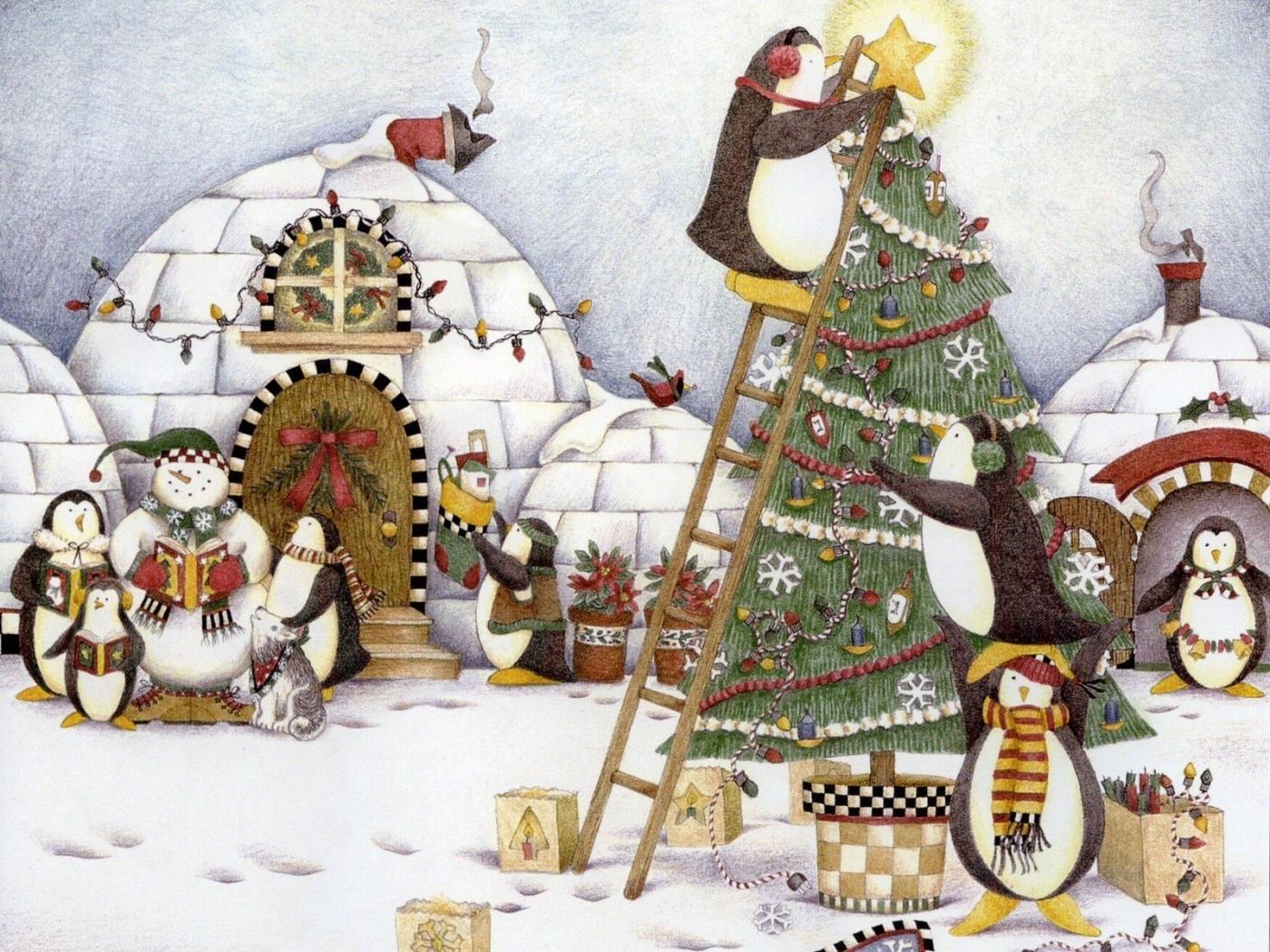 23833 скачать обои Рождество (Christmas, Xmas), Праздники, Пингвины, Снег, Рисунки - заставки и картинки бесплатно