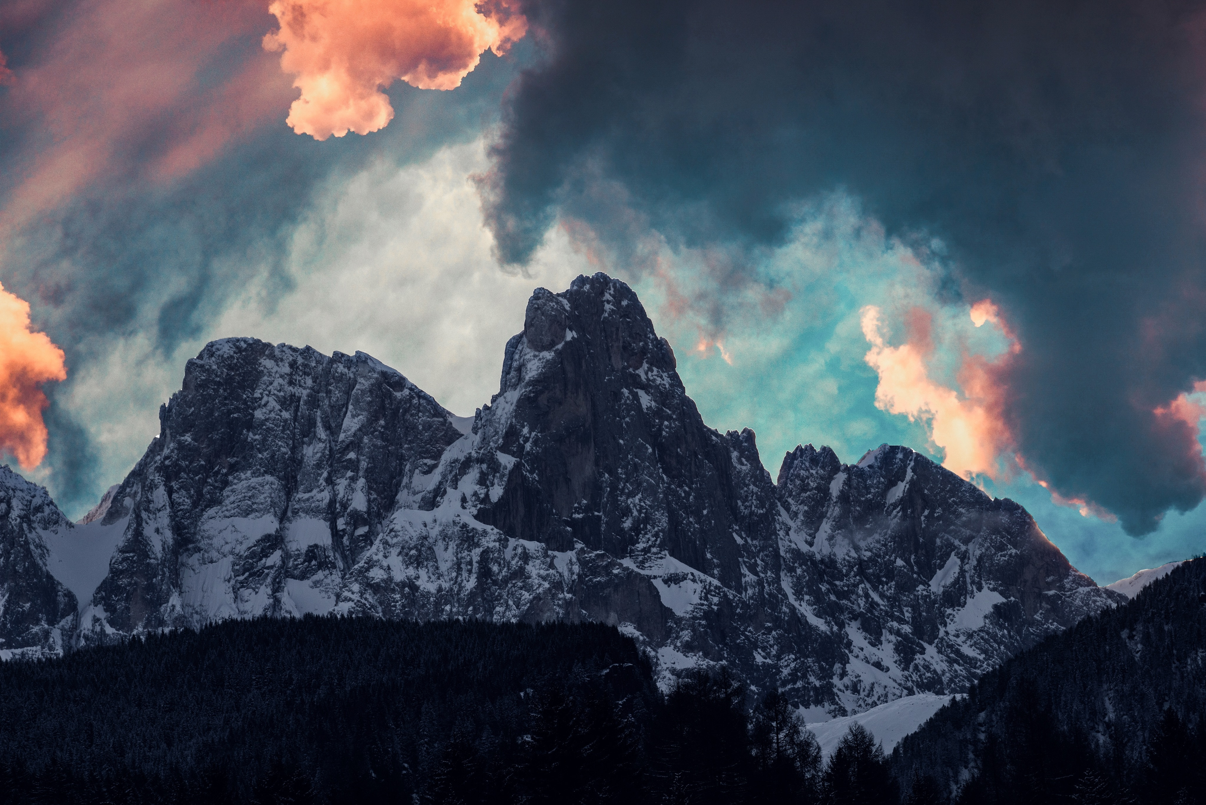 90919 download wallpaper Mountains, Nature, Trees, Clouds, Snow screensavers and pictures for free