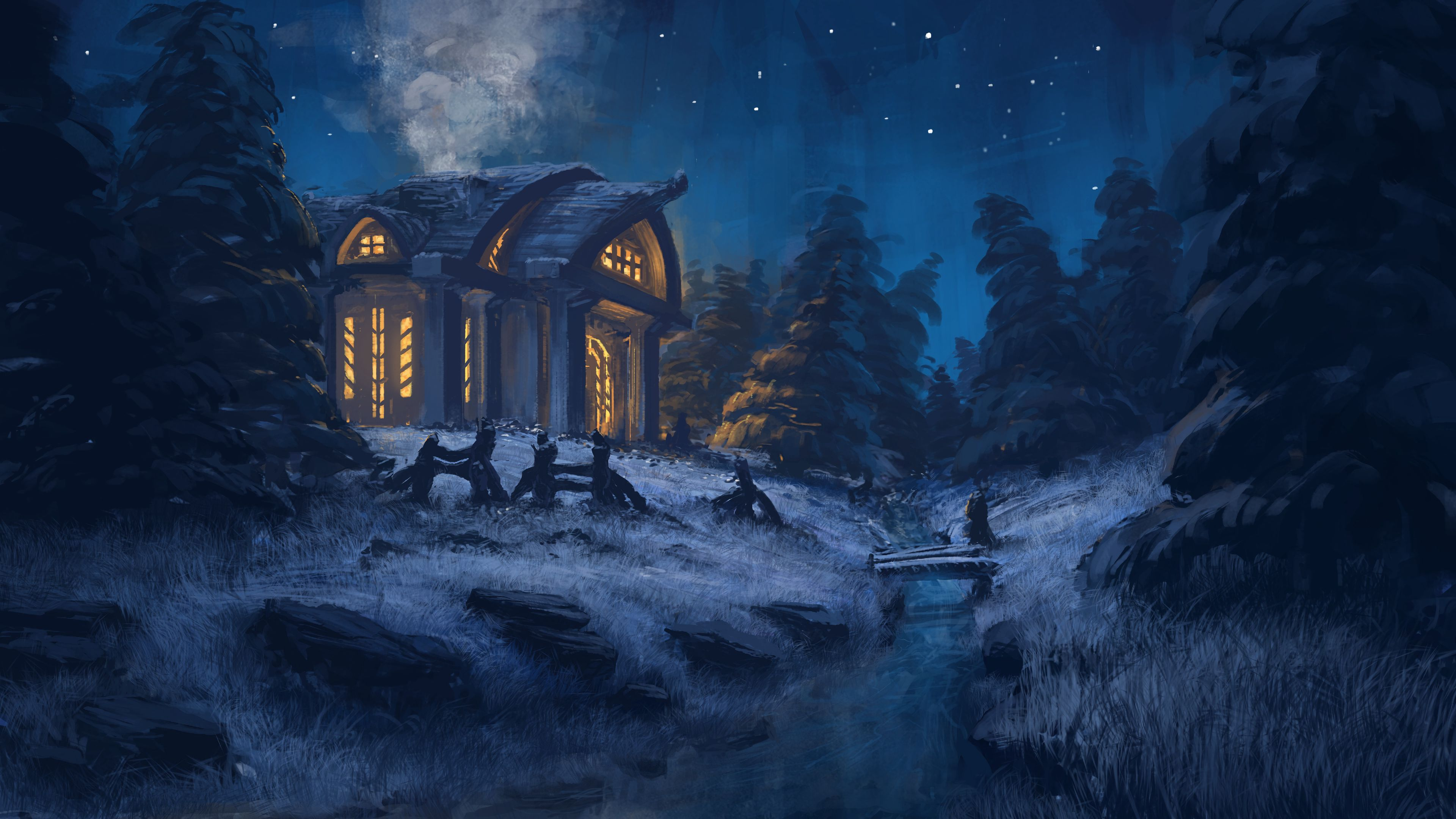 54497 download wallpaper Small House, Lodge, Forest, Art, Night, Shine, Light, Trees, Grass screensavers and pictures for free