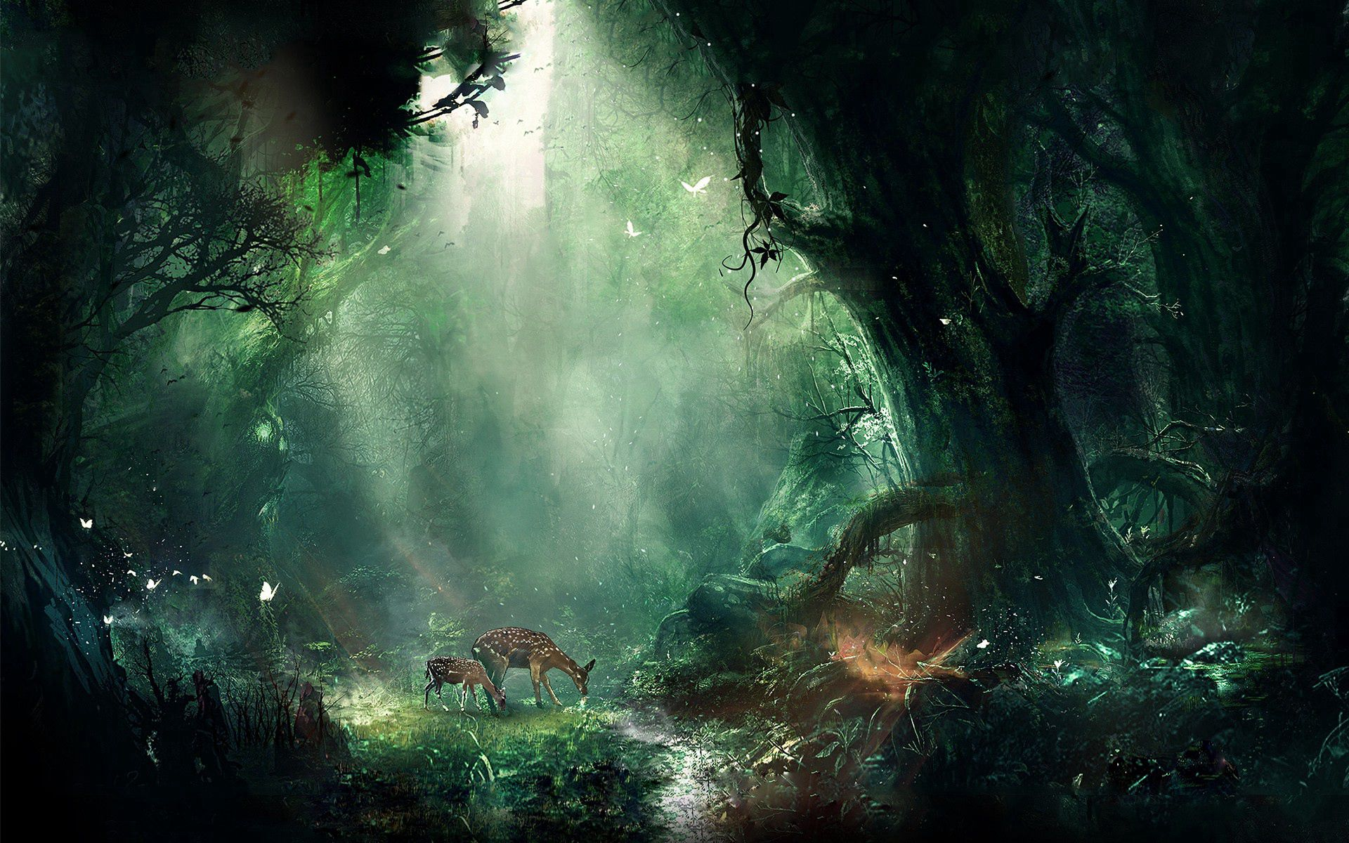 112953 download wallpaper Fantasy, Deers, Butterflies, Trees, Night, Jungle screensavers and pictures for free
