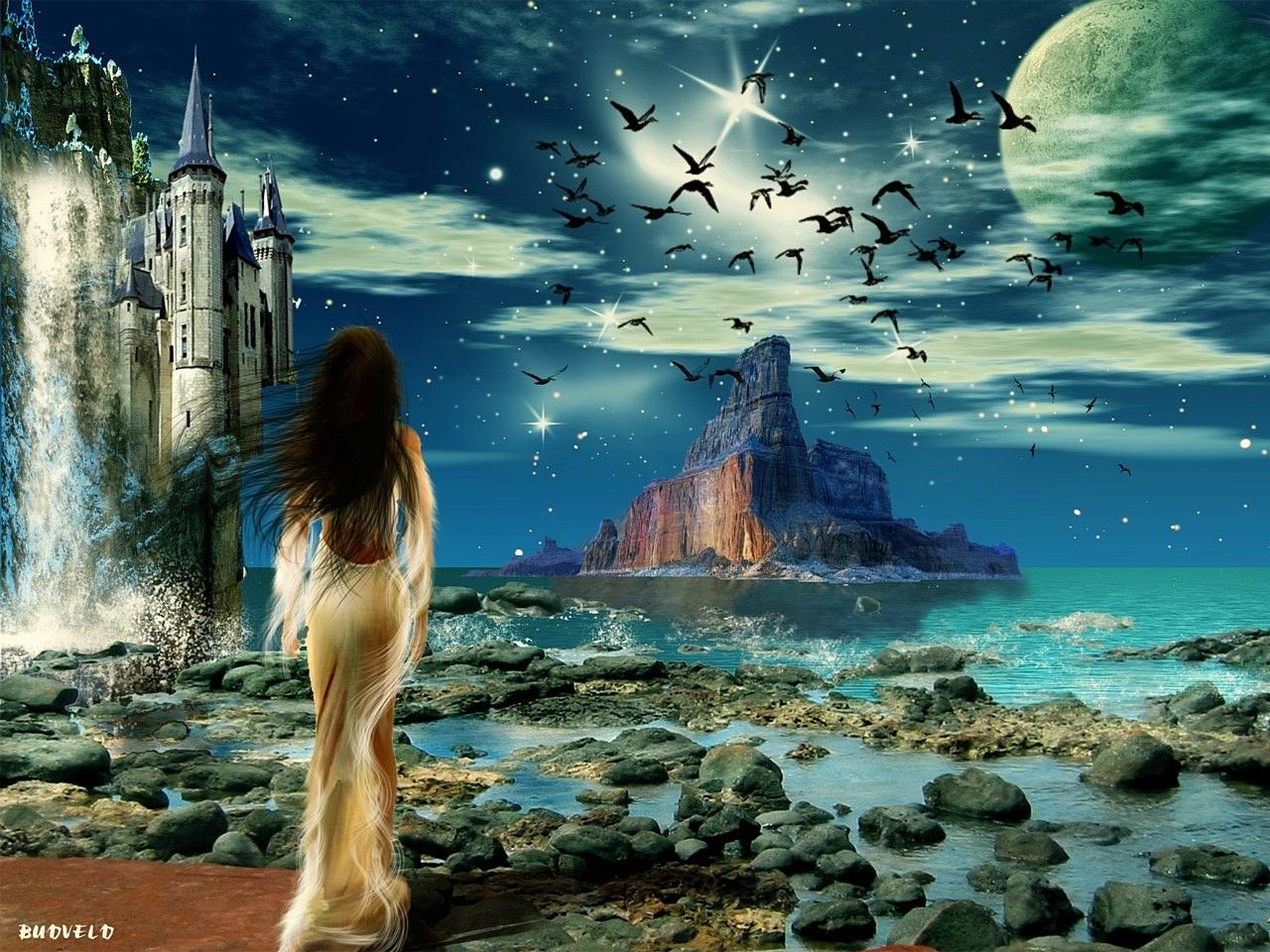 14323 Hintergrundbild herunterladen Fantasie, Menschen, Mädchen, Landschaft - Bildschirmschoner und Bilder kostenlos