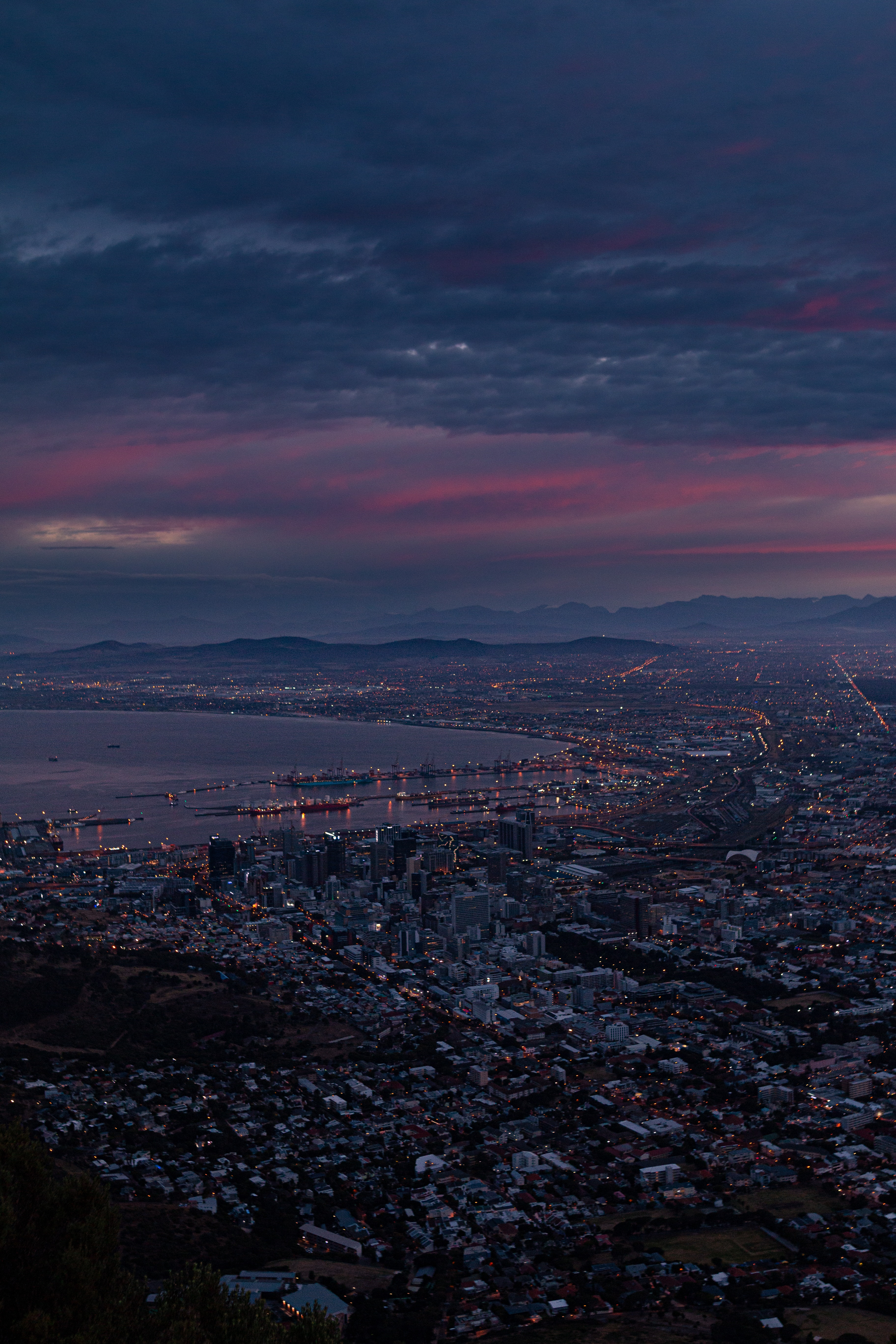 105265 Screensavers and Wallpapers Twilight for phone. Download Dark, Cities, Twilight, City, Building, View From Above, Coast, Dusk pictures for free