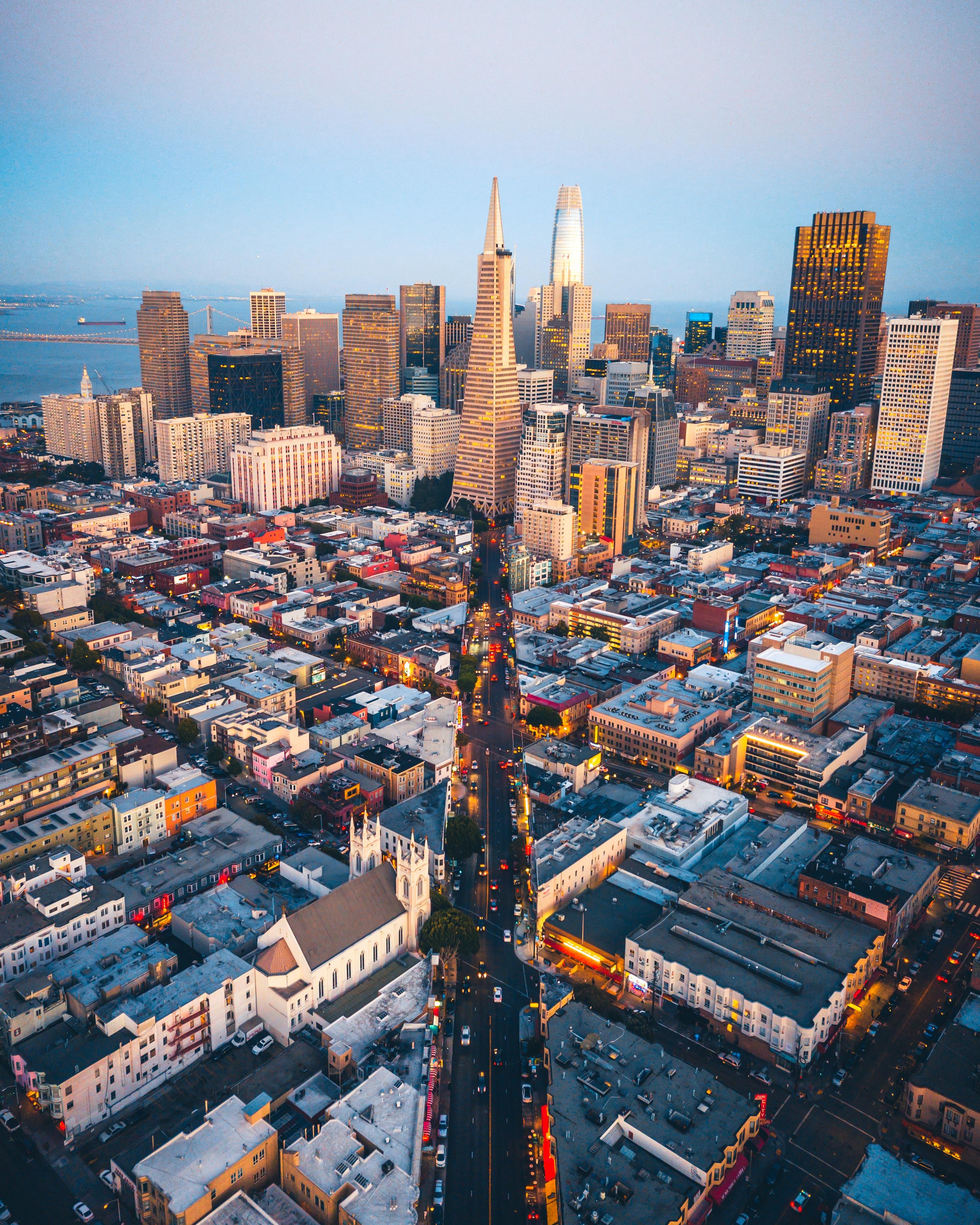 153824 скачать обои Города, Город, Вид Сверху, Обзор, Сша, Мегаполис, Сан-Франциско - заставки и картинки бесплатно
