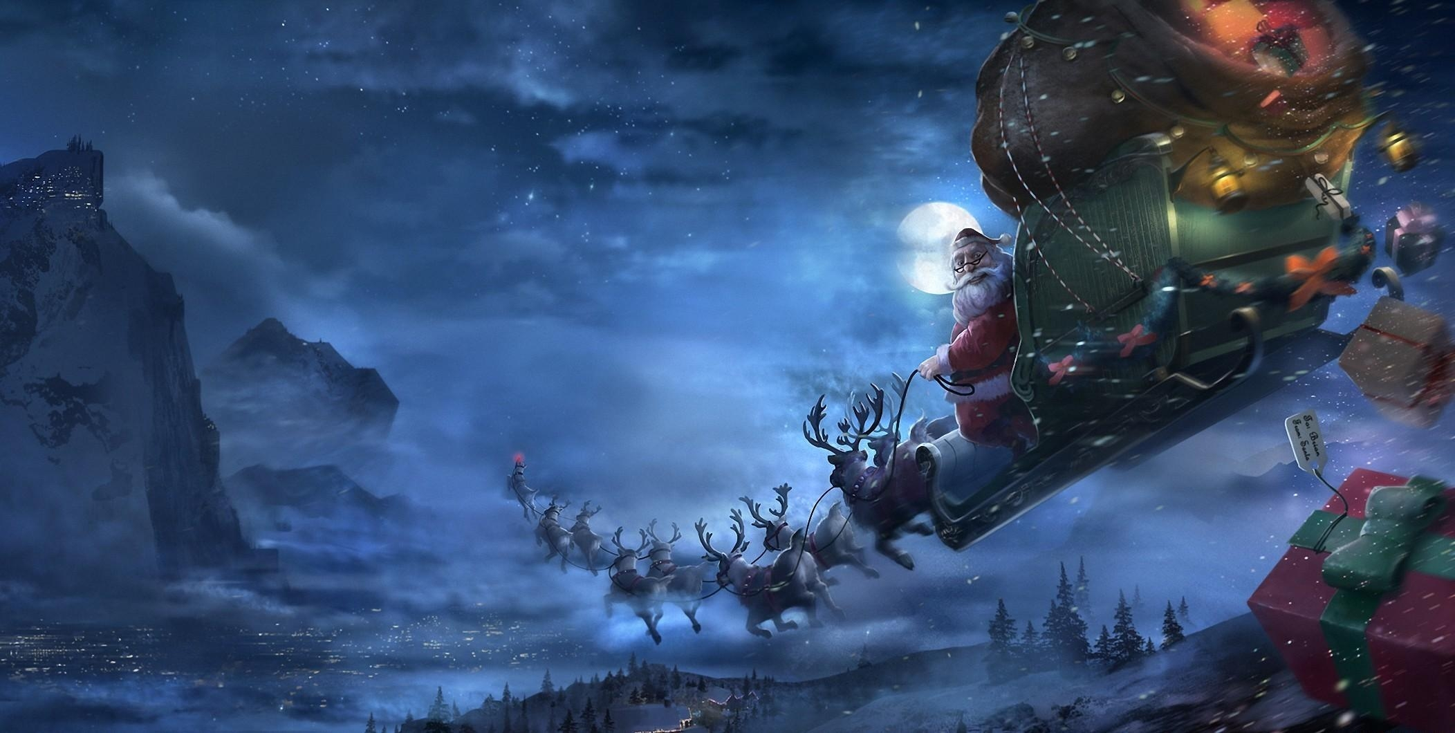 95338 download wallpaper Holidays, Christmas, Santa Claus, Deers, Flight, Sleigh, Sledge, Presents, Gifts screensavers and pictures for free