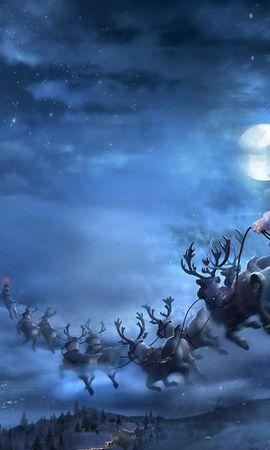95338 télécharger le fond d'écran Fêtes, Le Père Noël, Père Noël, Cerfs, Traîneau, Luge, Vol, Cadeaux, Noël - économiseurs d'écran et images gratuitement