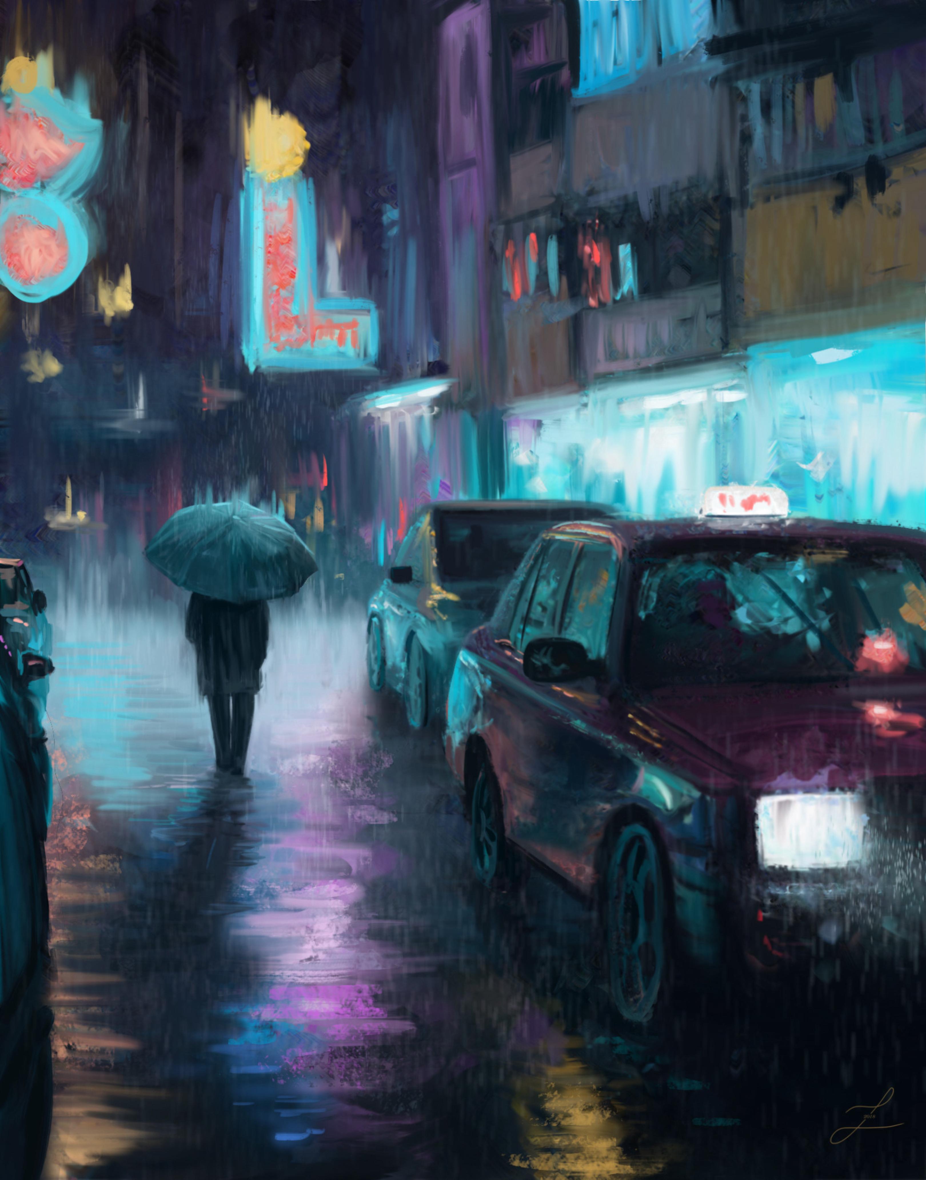 91835 скачать обои Ночной Город, Дождь, Арт, Живопись, Силуэт, Улица, Машины - заставки и картинки бесплатно