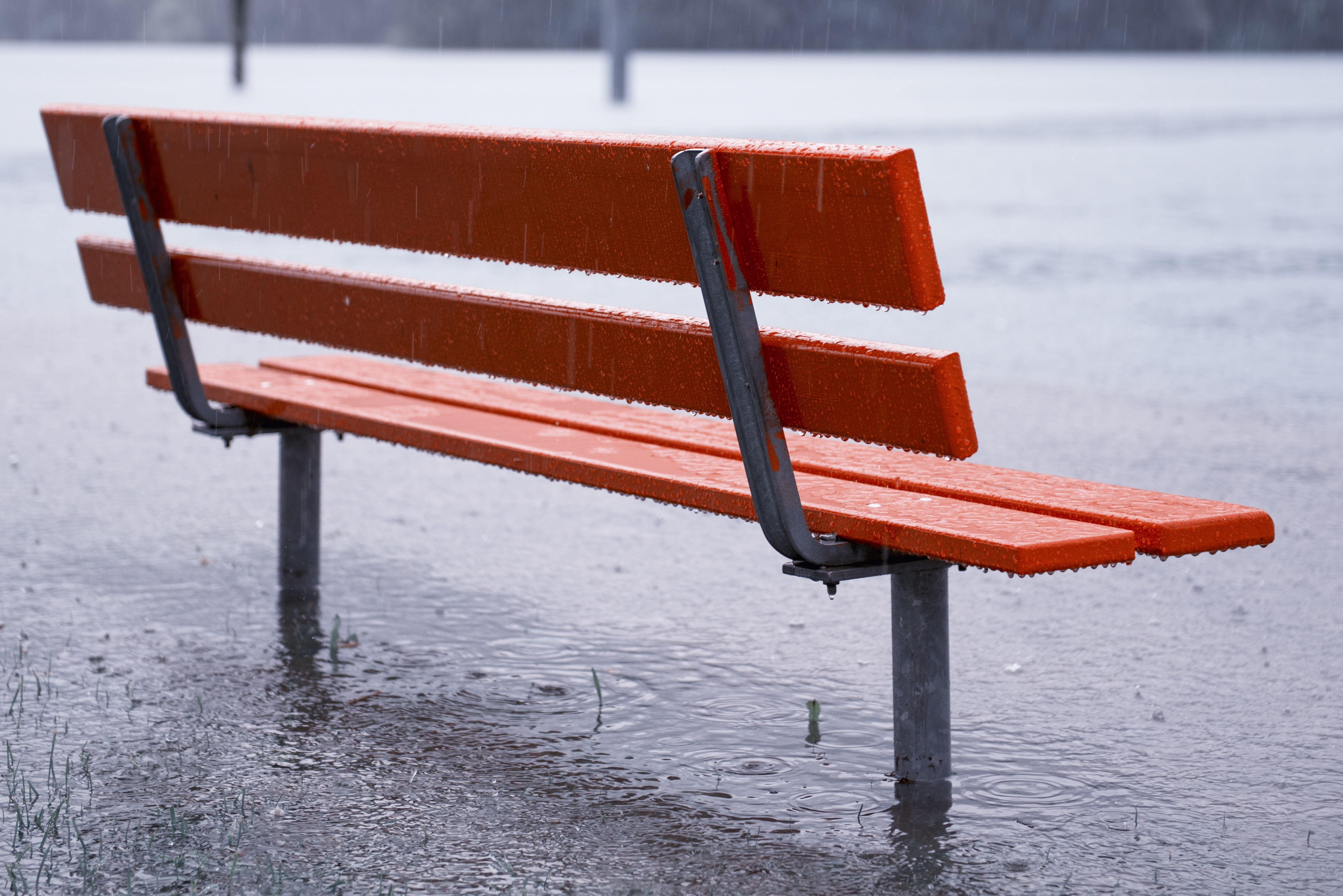 70172 Screensavers and Wallpapers Bench for phone. Download Rain, Miscellanea, Miscellaneous, Bench, Shower, Downpour, Puddles pictures for free