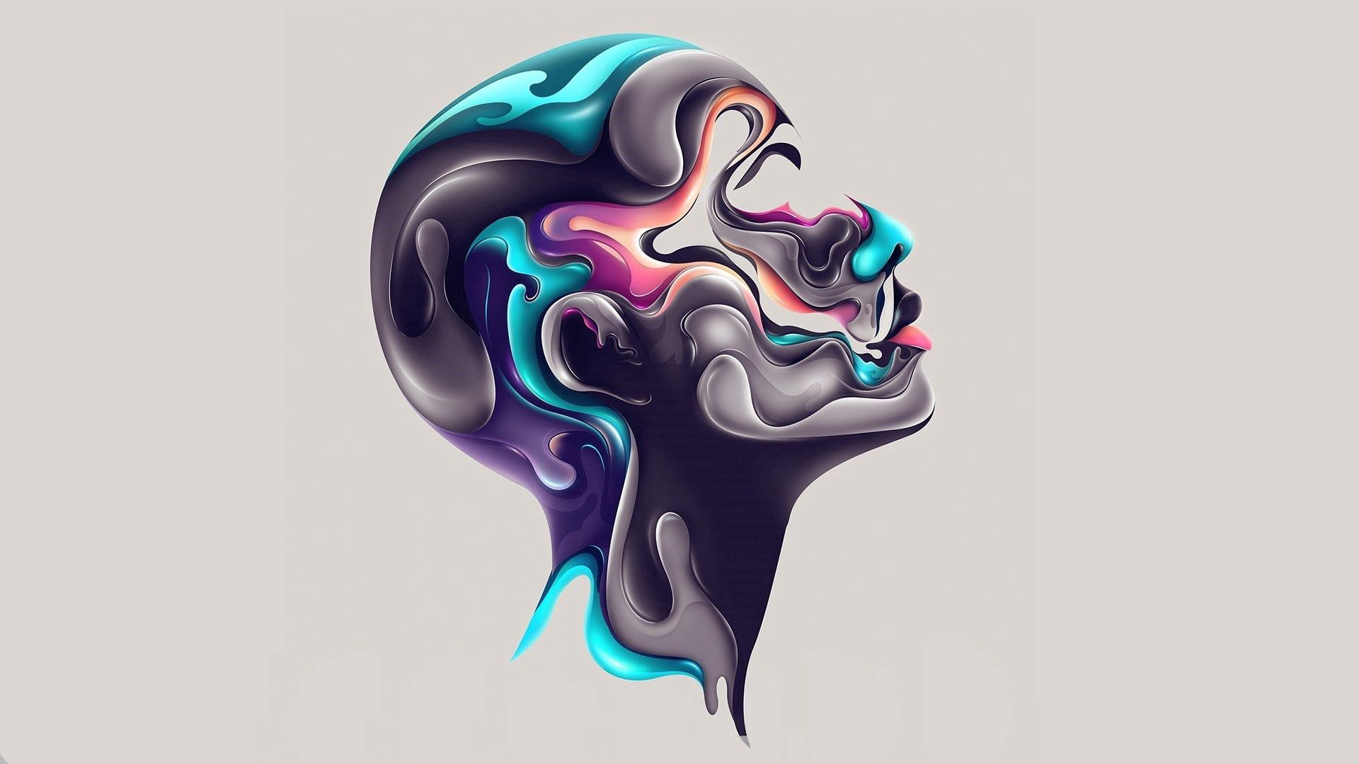 103863 download wallpaper Abstract, Paint, Profile, Face screensavers and pictures for free