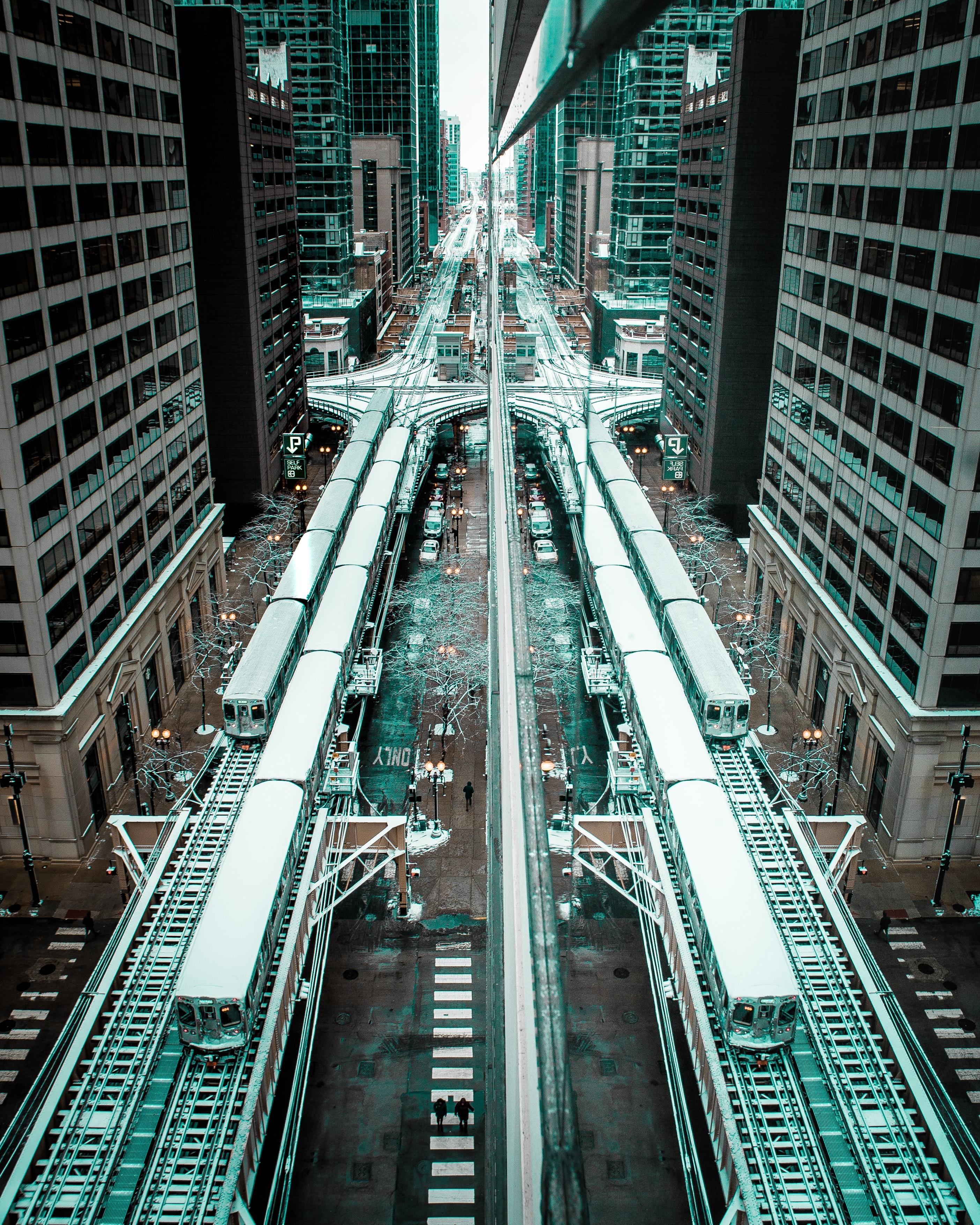 152605 скачать обои Железная Дорога, Поезда, Город, Здания, Чикаго, Города - заставки и картинки бесплатно