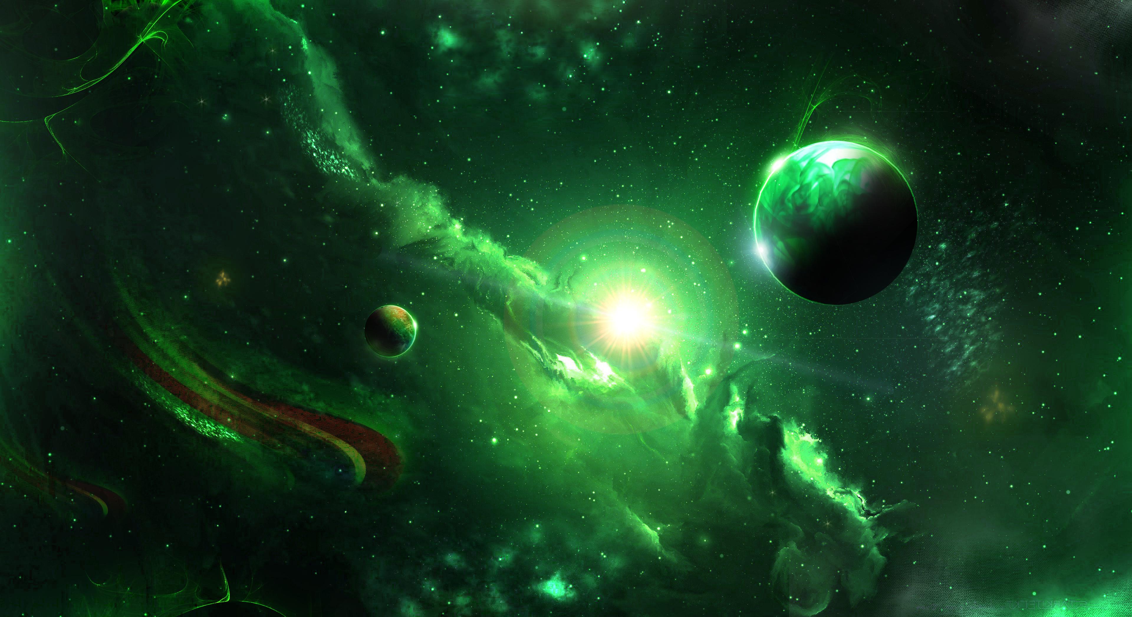 55324 скачать обои Космос, Галактика, Вселенная, Зеленый, Планеты - заставки и картинки бесплатно