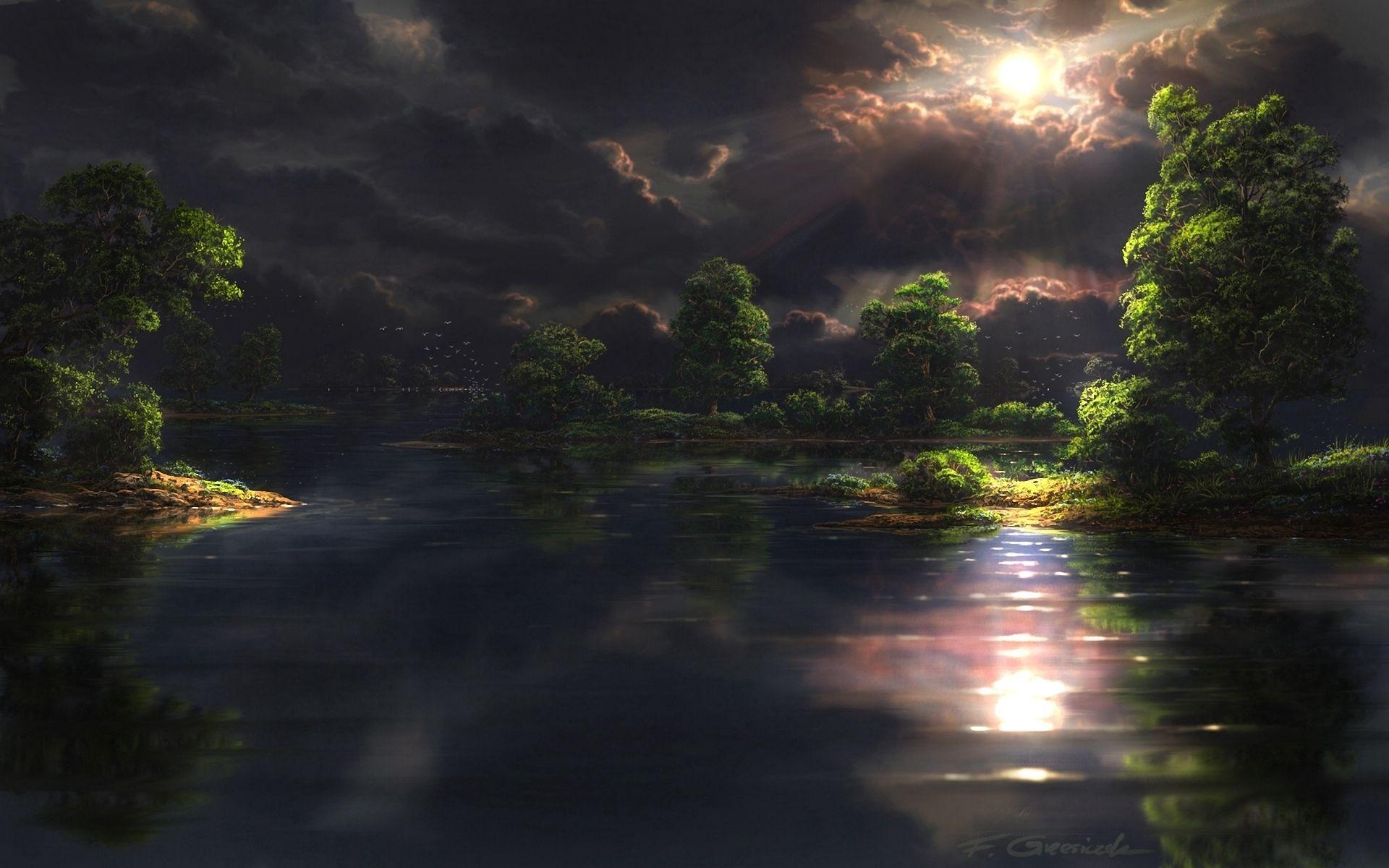 110792壁紙のダウンロード自然, 輝く, 光, 闇, 雲, ビーム, 光線, サン-スクリーンセーバーと写真を無料で