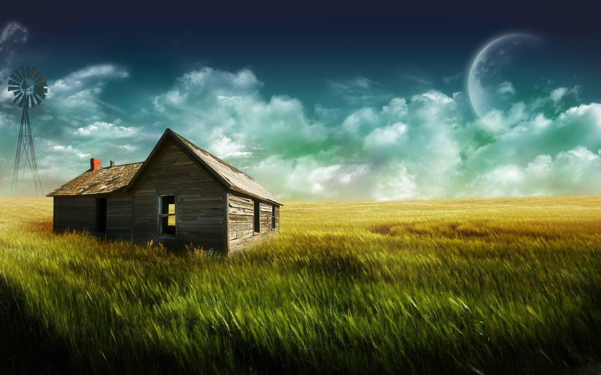 3213 скачать обои Пейзаж, Дома, Трава, Небо - заставки и картинки бесплатно