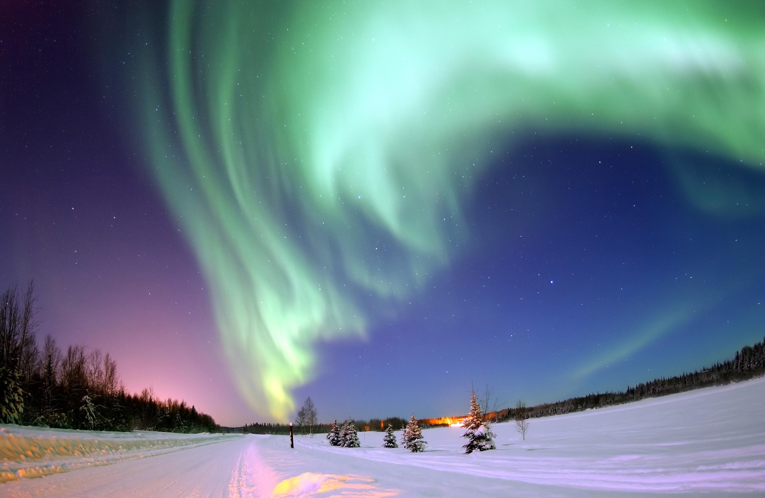155202 скачать обои Зима, Снег, Северное Сияние, Природа, Звездное Небо, Аврора - заставки и картинки бесплатно