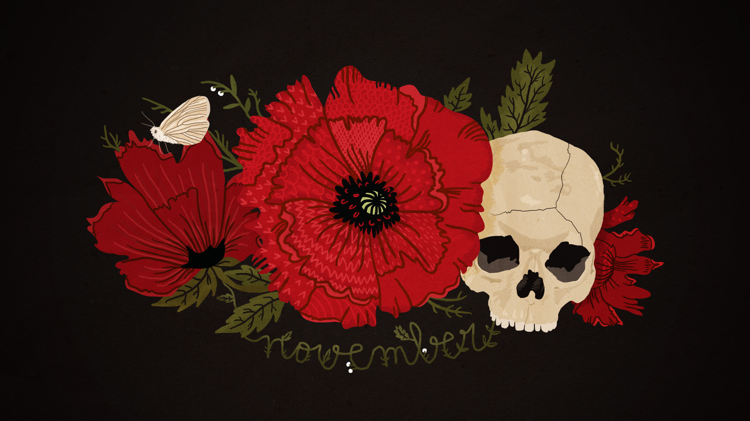 22301 download wallpaper Flowers, Background, Death, Skeletons screensavers and pictures for free