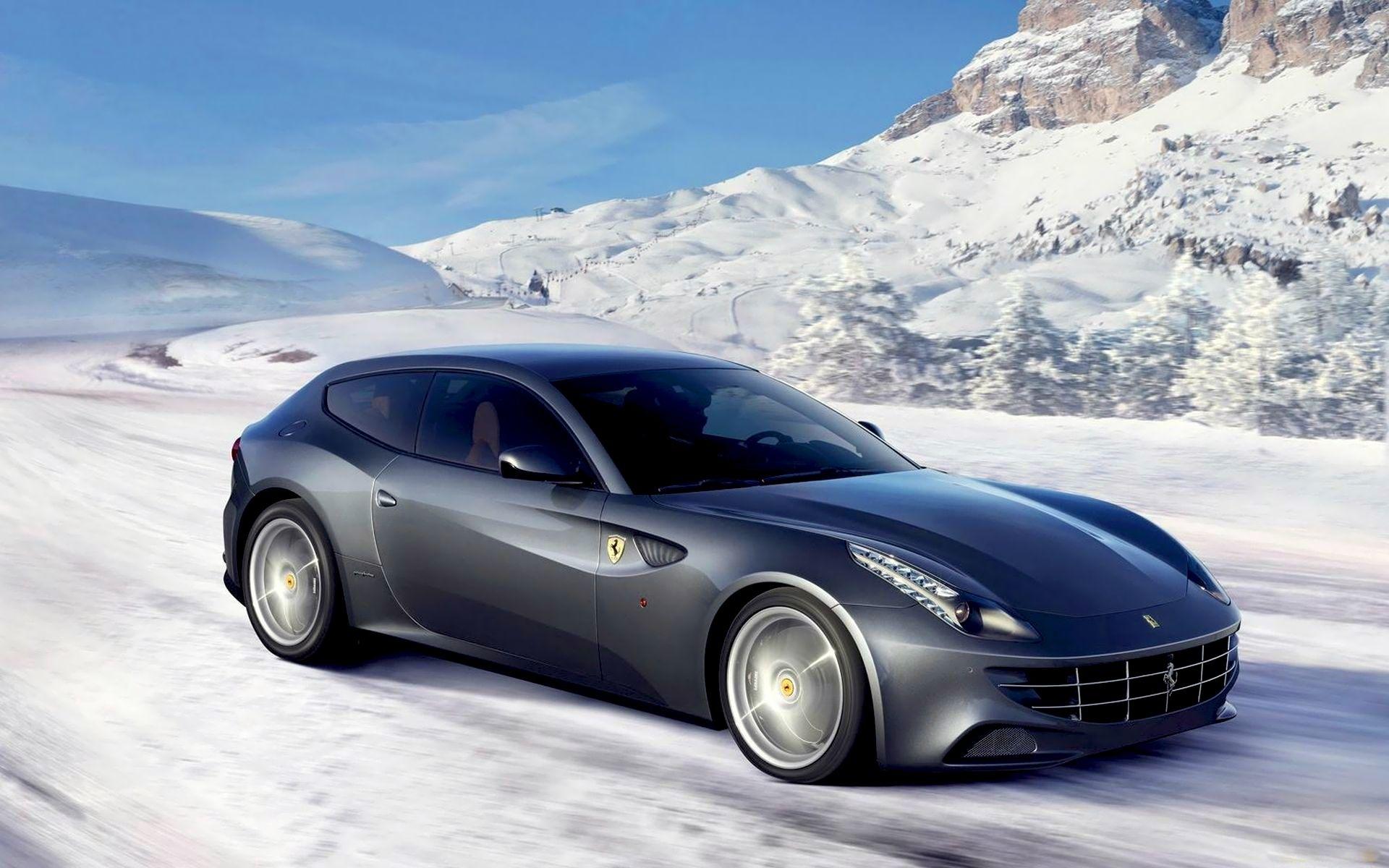 46437 скачать обои Транспорт, Пейзаж, Машины, Зима, Горы, Снег, Феррари (Ferrari) - заставки и картинки бесплатно