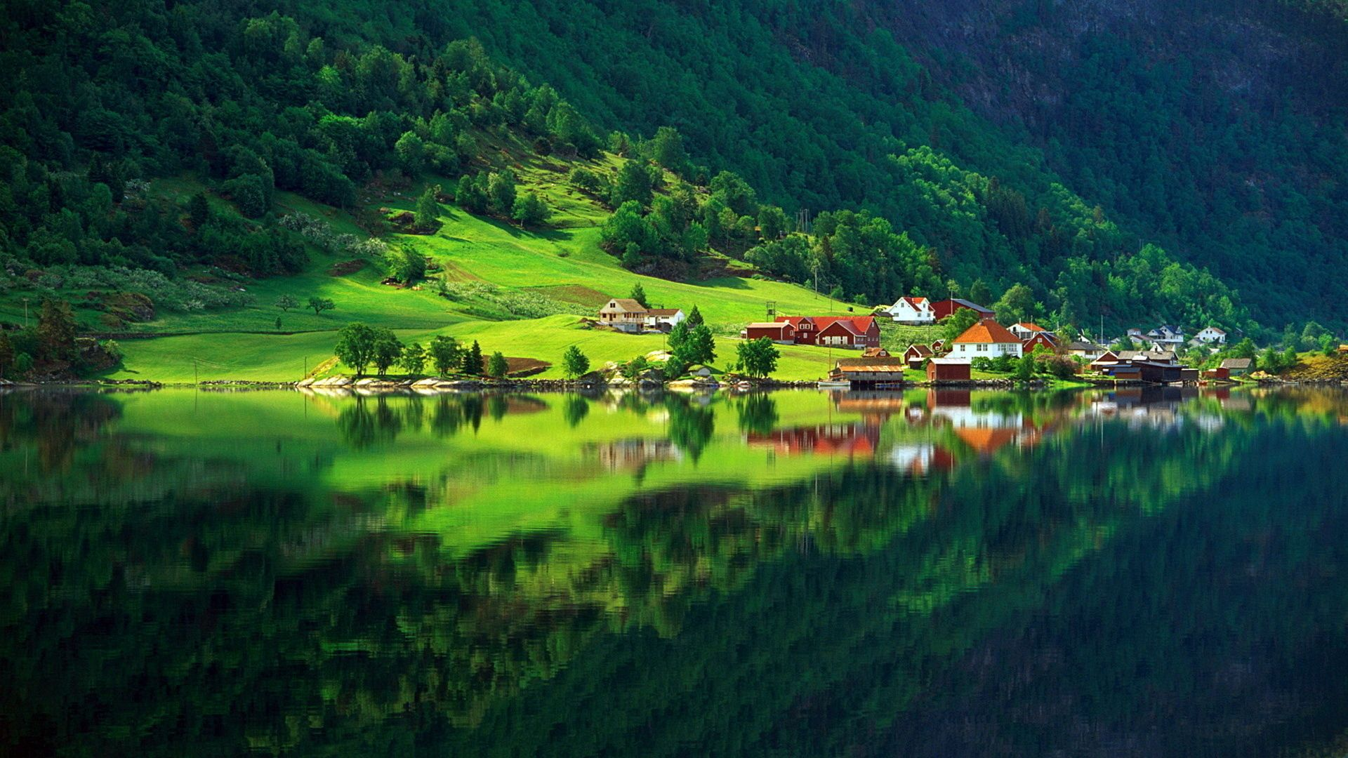 122702 Screensavers and Wallpapers Summer for phone. Download Lake, Summer, Nature, Houses, Mountain, Reflection, Shore, Bank, Village, Foot pictures for free