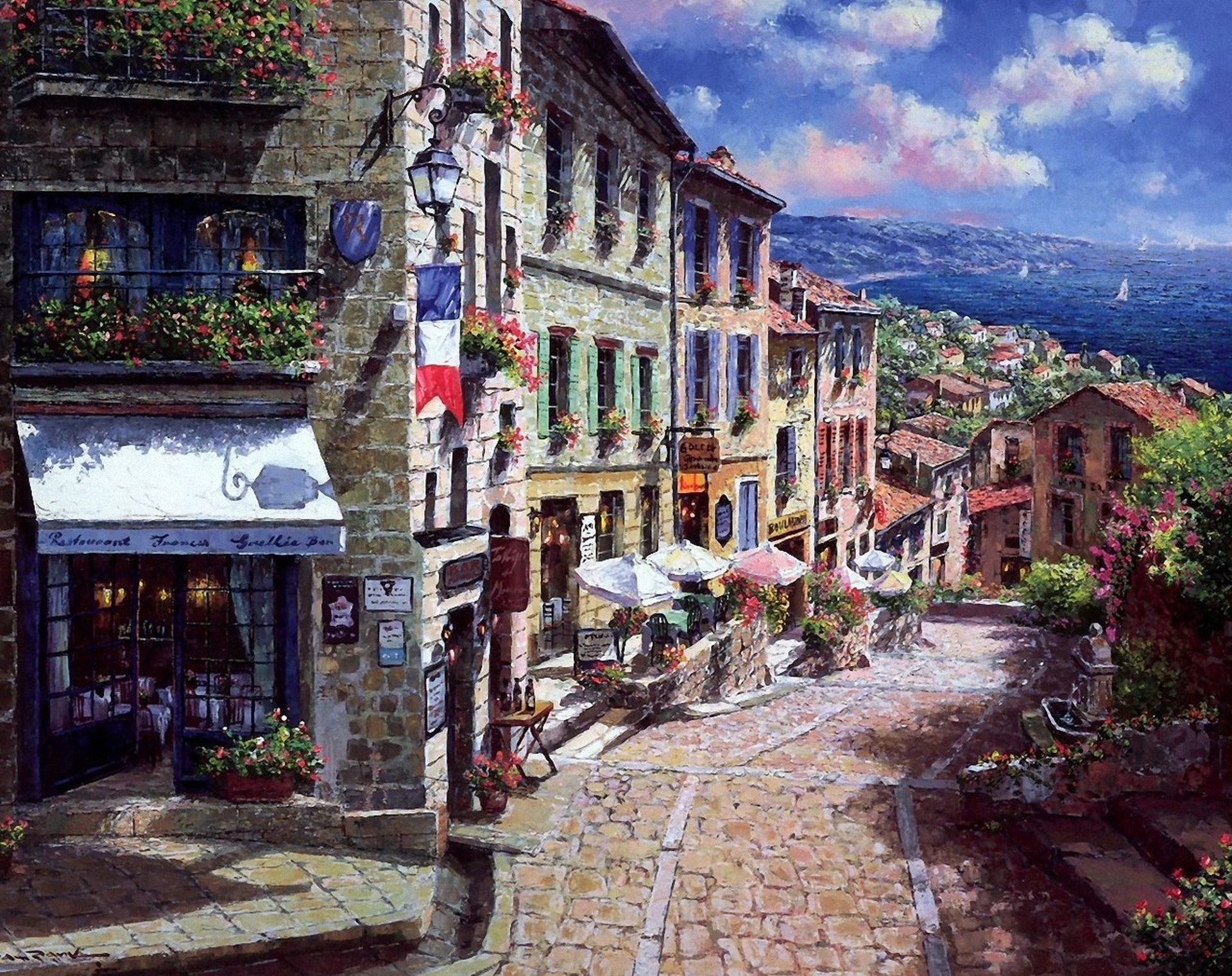 56093 download wallpaper Flowers, Houses, Art, Sea, Picture, France, Lamp, Lantern, Street, Flag, Balconies, Restaurant, Town, Sailboats, Umbrellas, Mostovaya, Pavement screensavers and pictures for free