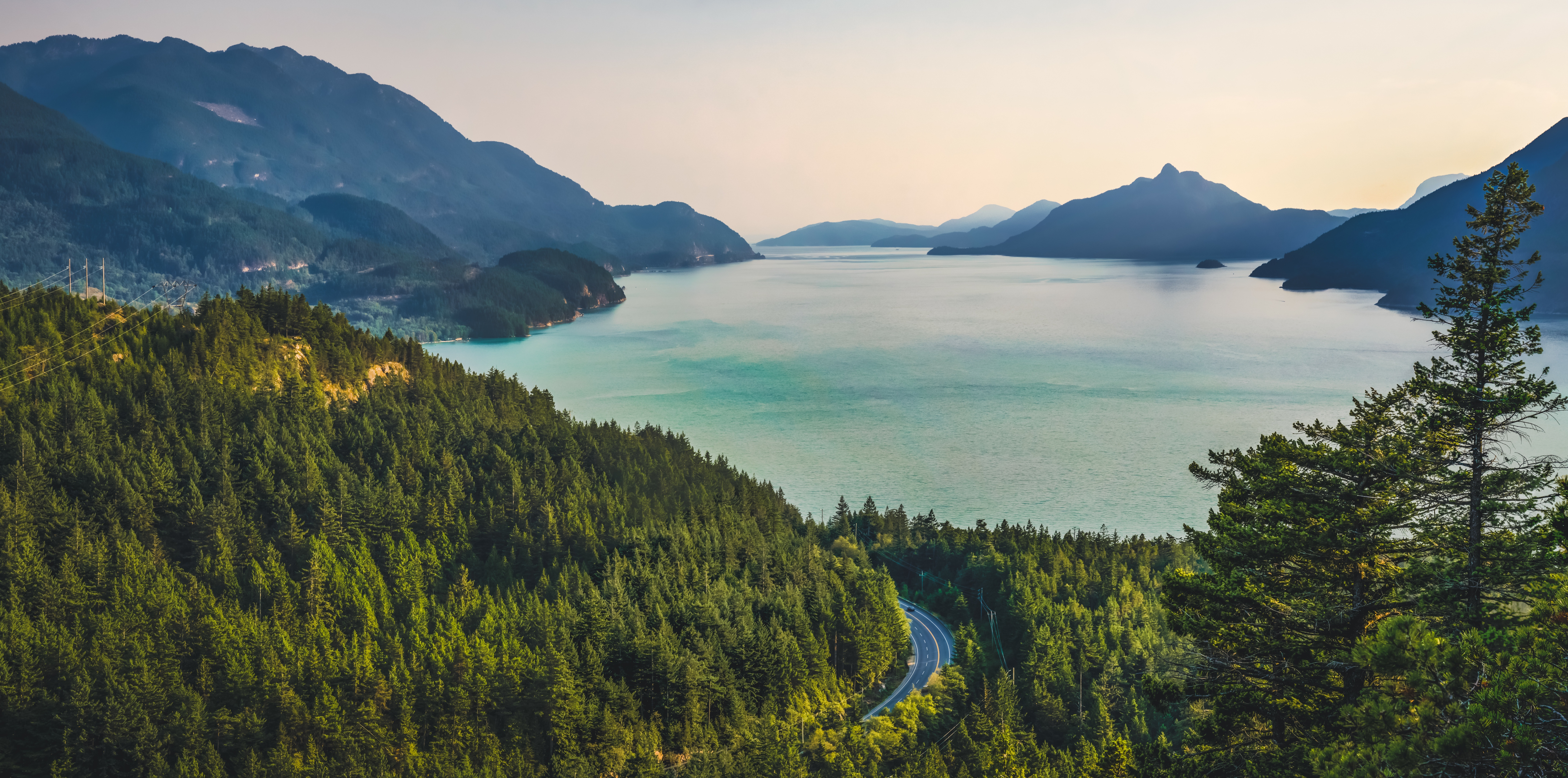 111486 Screensavers and Wallpapers Road for phone. Download Road, Nature, Trees, Mountains, Lake pictures for free