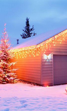 41827 descargar fondo de pantalla Vacaciones, Paisaje, Invierno, Casas, Año Nuevo, Objetos, Nieve: protectores de pantalla e imágenes gratis