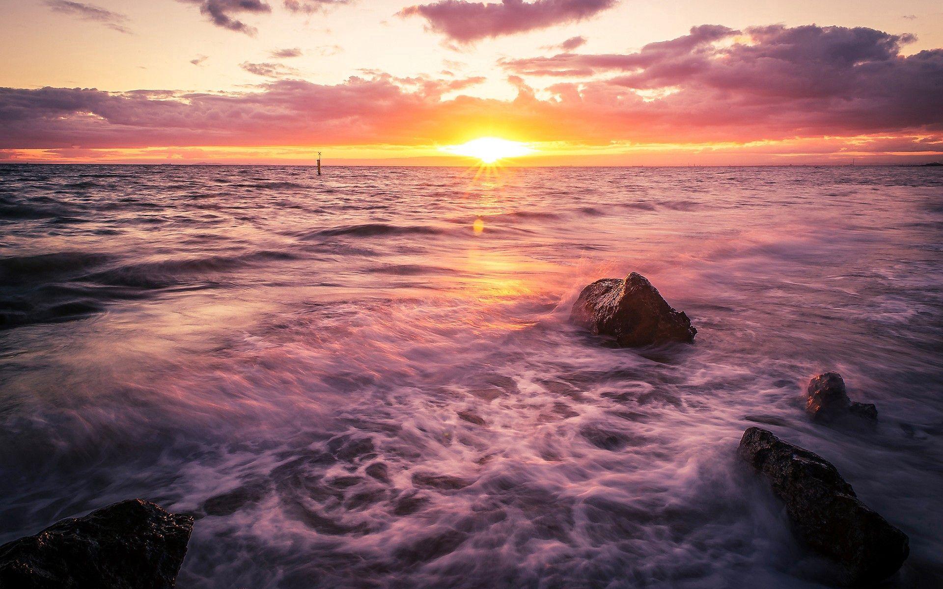 104822 скачать обои Природа, Море, Прибой, Закат - заставки и картинки бесплатно