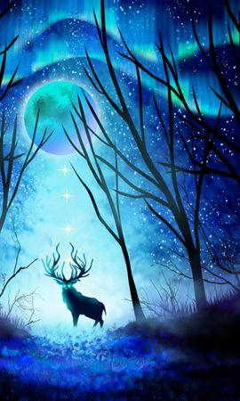 55359 baixar papel de parede Cervo, Veado, Floresta, Noite, Lua, Aurora Boreal, Arte - protetores de tela e imagens gratuitamente