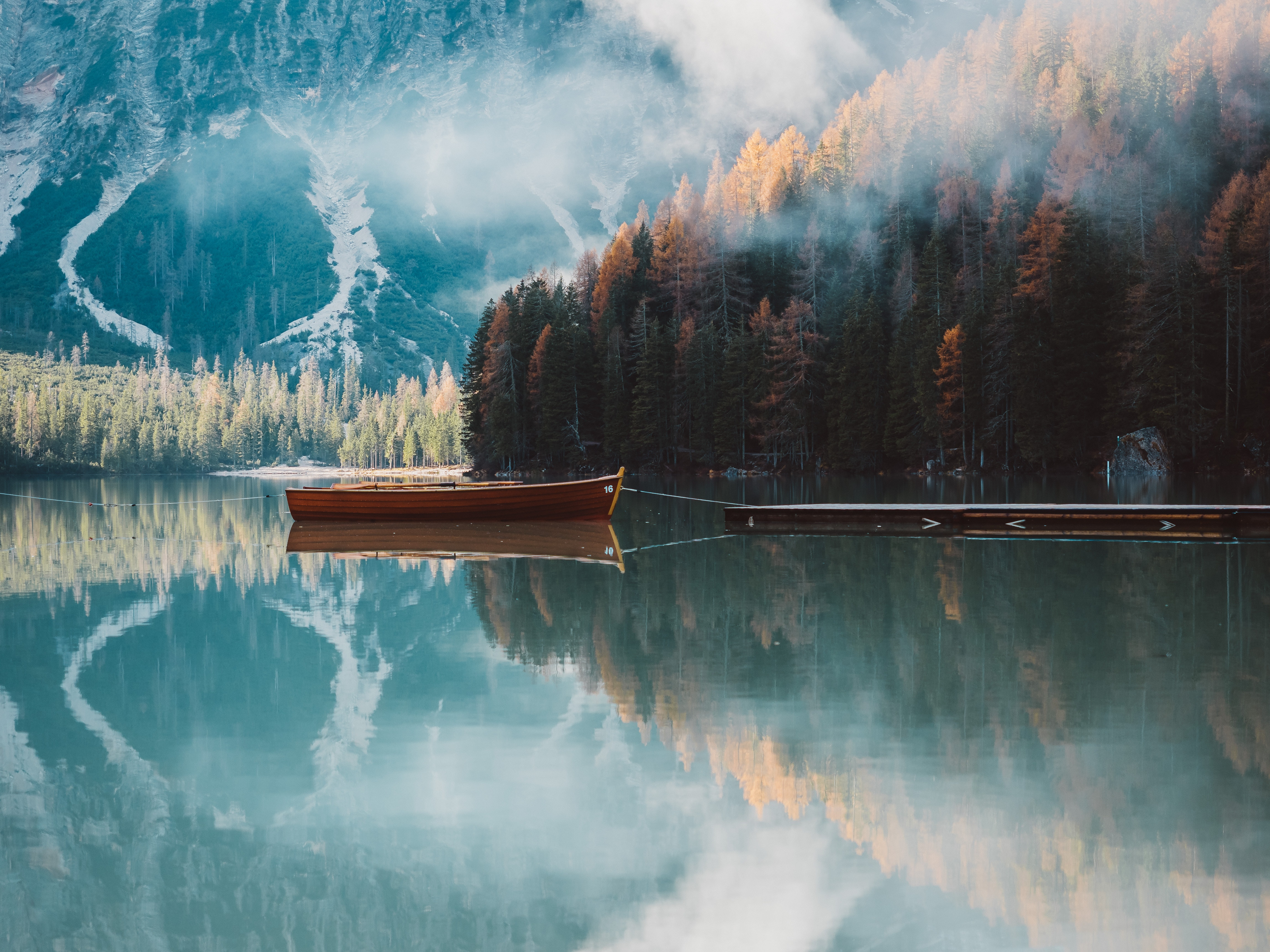 149408 Screensavers and Wallpapers Boat for phone. Download Nature, Trees, Mountains, Autumn, Lake, Boat pictures for free