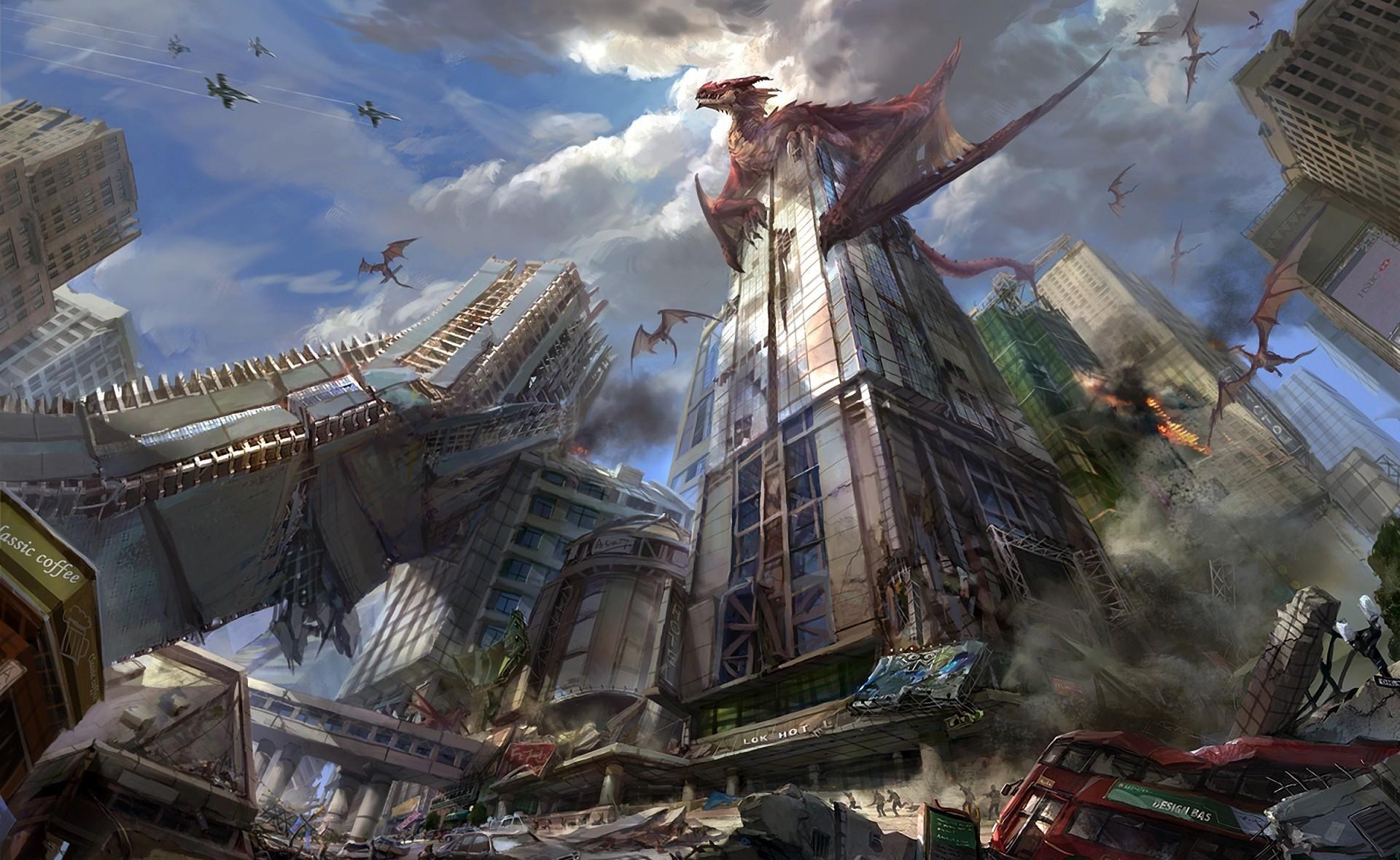 104235 Hintergrundbild herunterladen Fantasie, Dragons, Stadt, Wolkenkratzer, Zerstörung - Bildschirmschoner und Bilder kostenlos