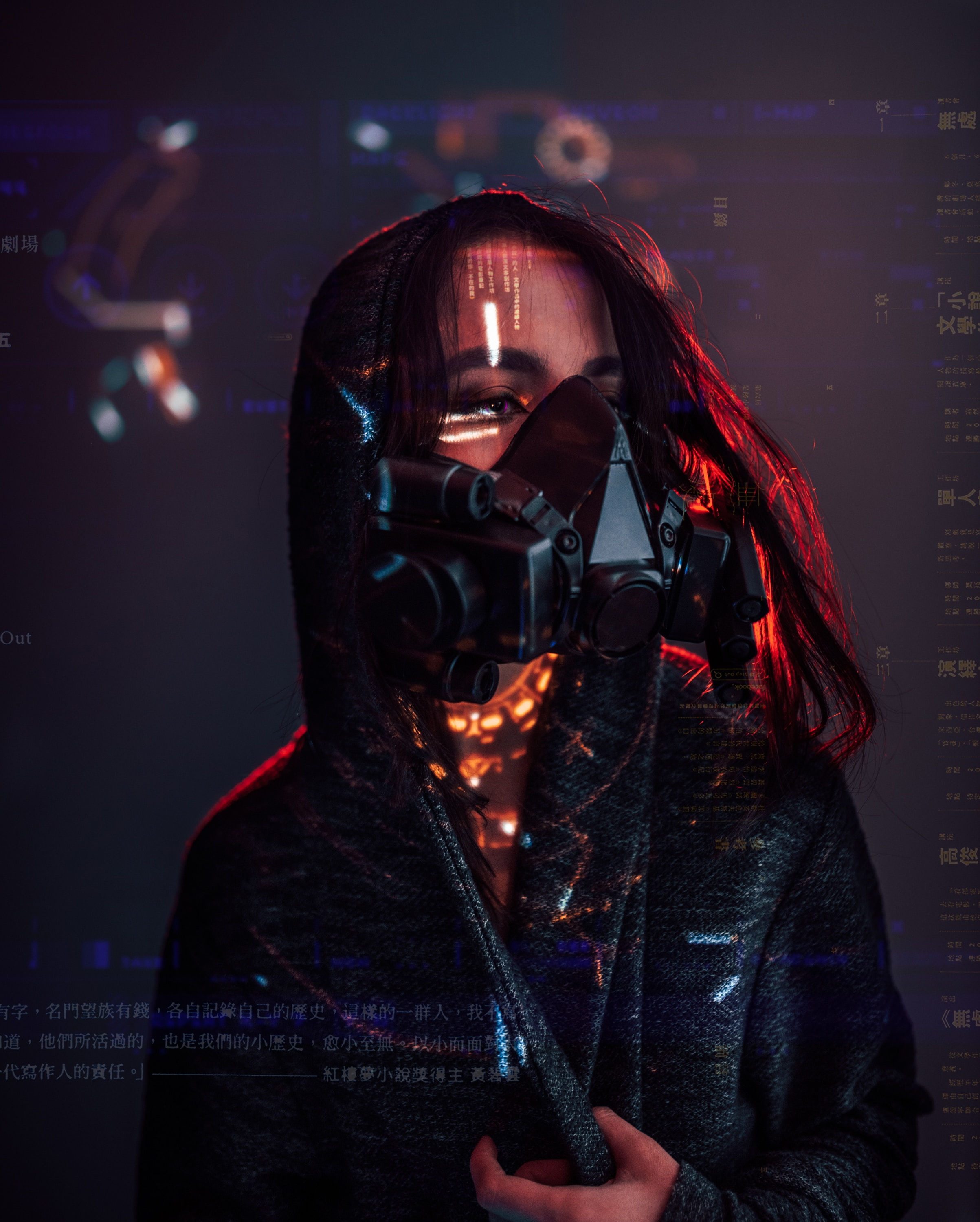 80850 Screensavers and Wallpapers Sci-Fi for phone. Download Miscellanea, Miscellaneous, Cyberpunk, Girl, Sci-Fi, Hologram, Respirator pictures for free