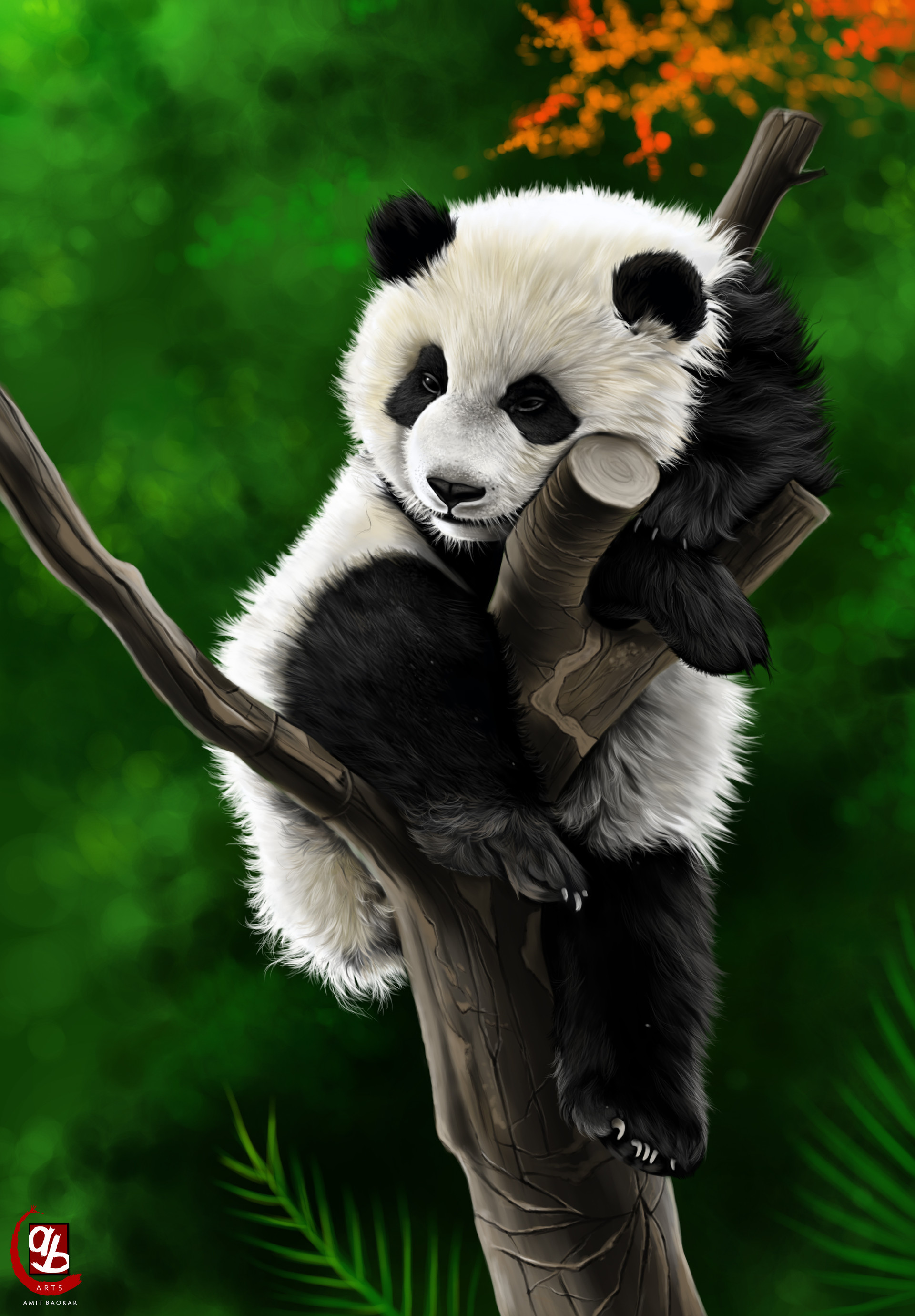 156615 download wallpaper Panda, Animal, Branch, Art screensavers and pictures for free