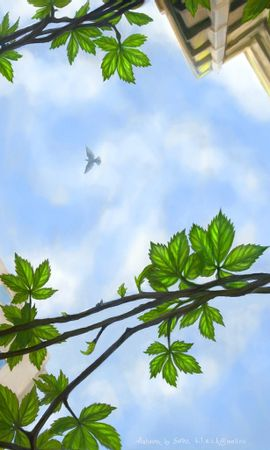 2261 download wallpaper Landscape, Houses, Sky, Art, Leaves screensavers and pictures for free