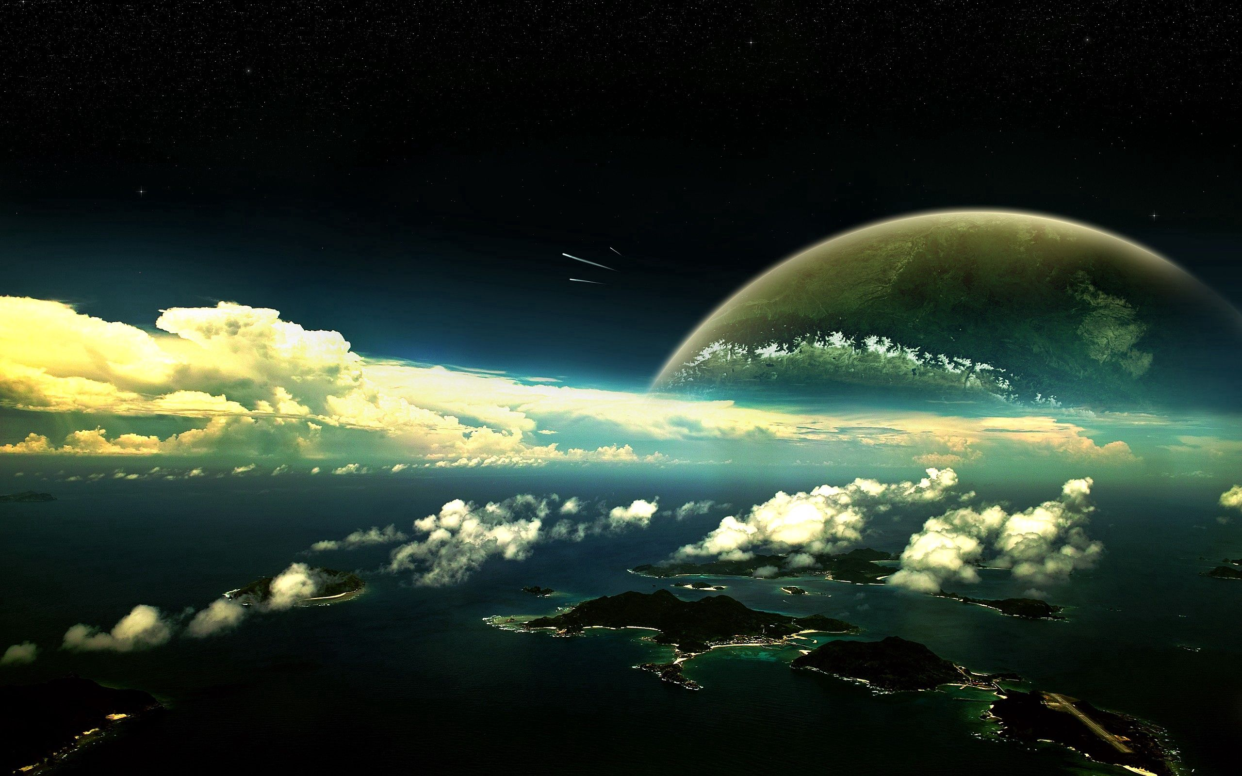 149050 скачать обои Фэнтези, Облака, Вода, Небо, Планета, Острова - заставки и картинки бесплатно