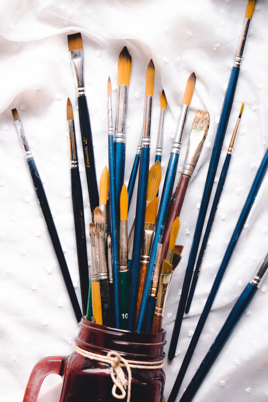 58825 Hintergrundbild herunterladen Künstler, Verschiedenes, Sonstige, Farbe, Bürsten, Quasten, Aquarell, Einstellen, Festgelegt - Bildschirmschoner und Bilder kostenlos