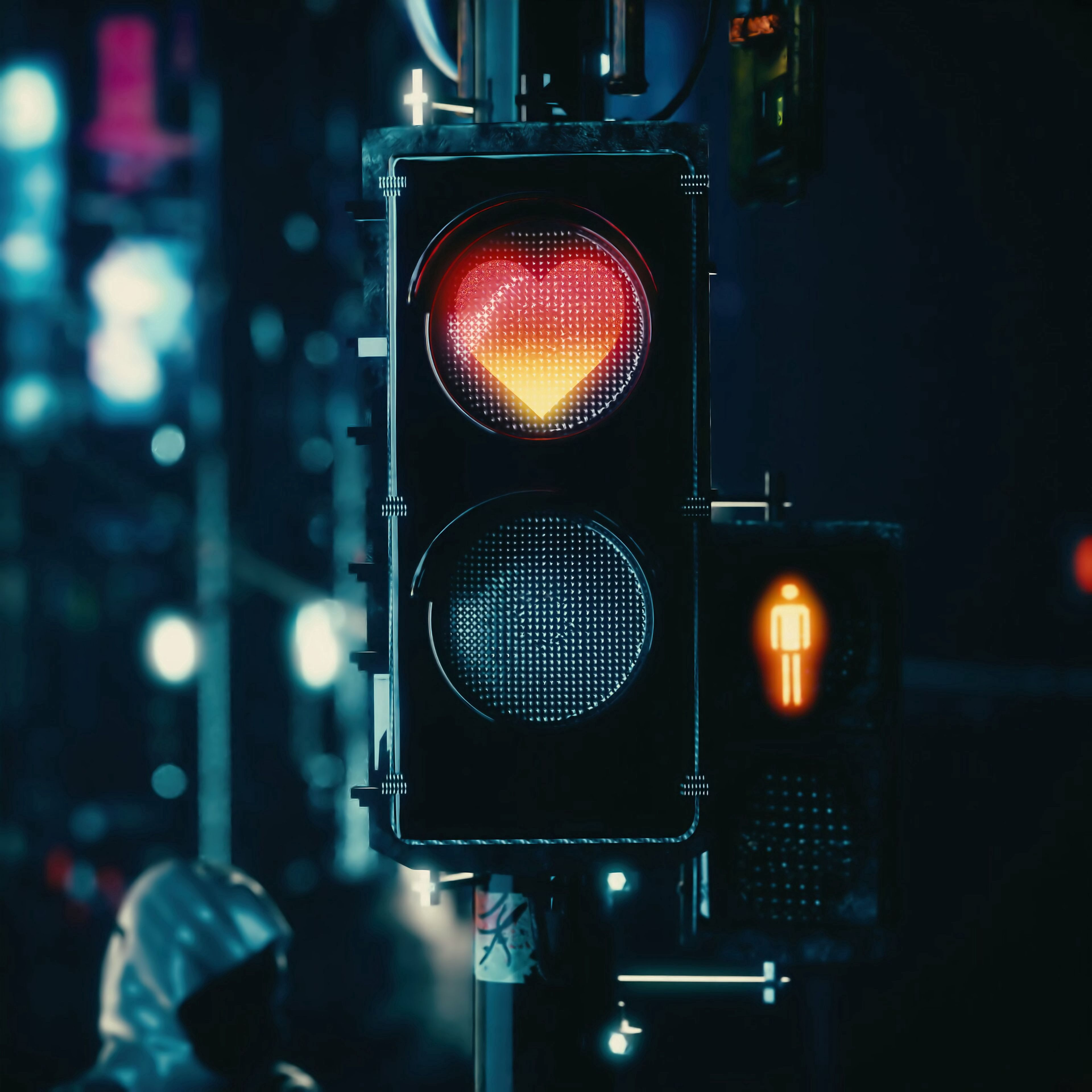 105860 download wallpaper Love, Heart, Traffic Light, Signal screensavers and pictures for free