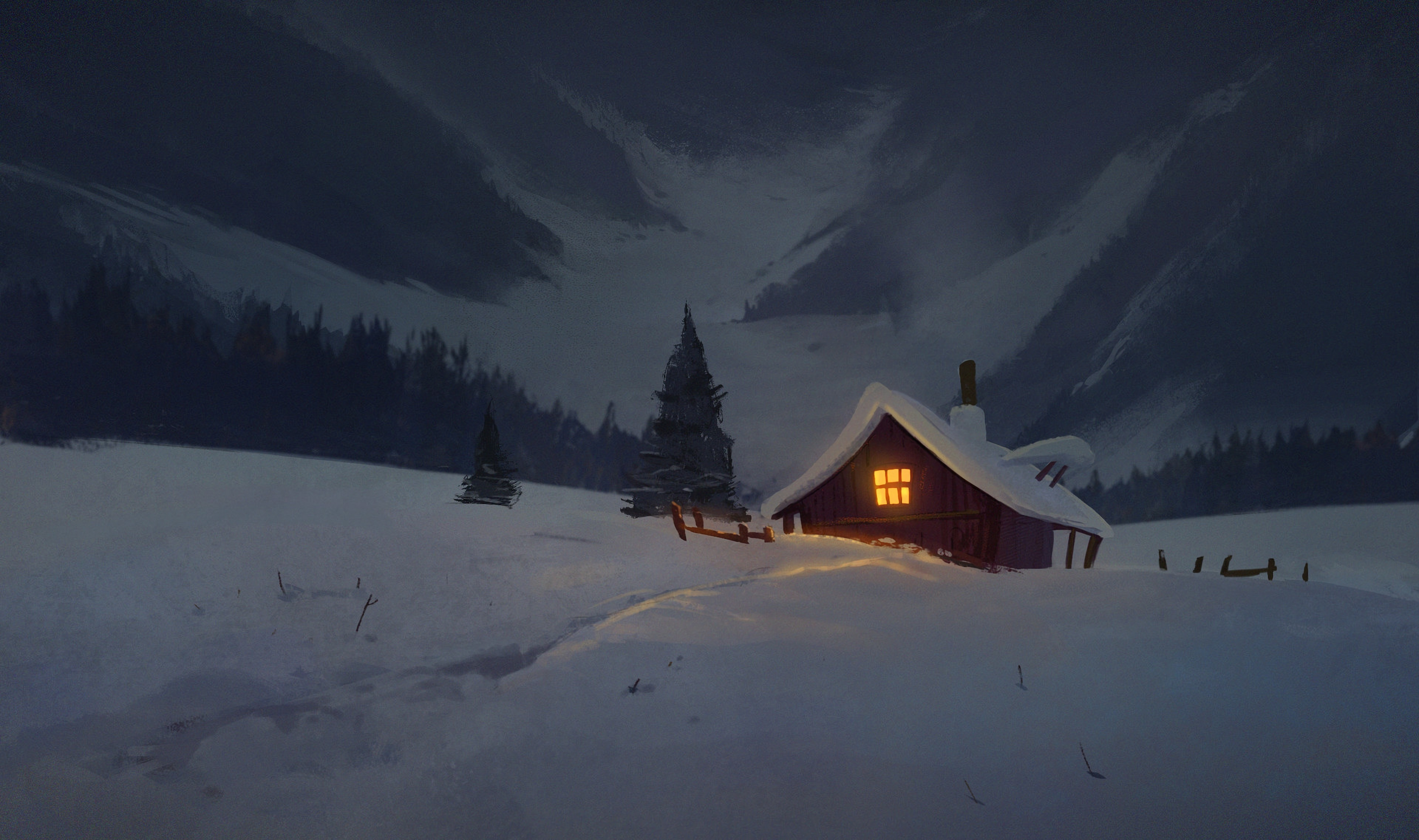 108990 download wallpaper Art, Night, Snow, House, Izba screensavers and pictures for free