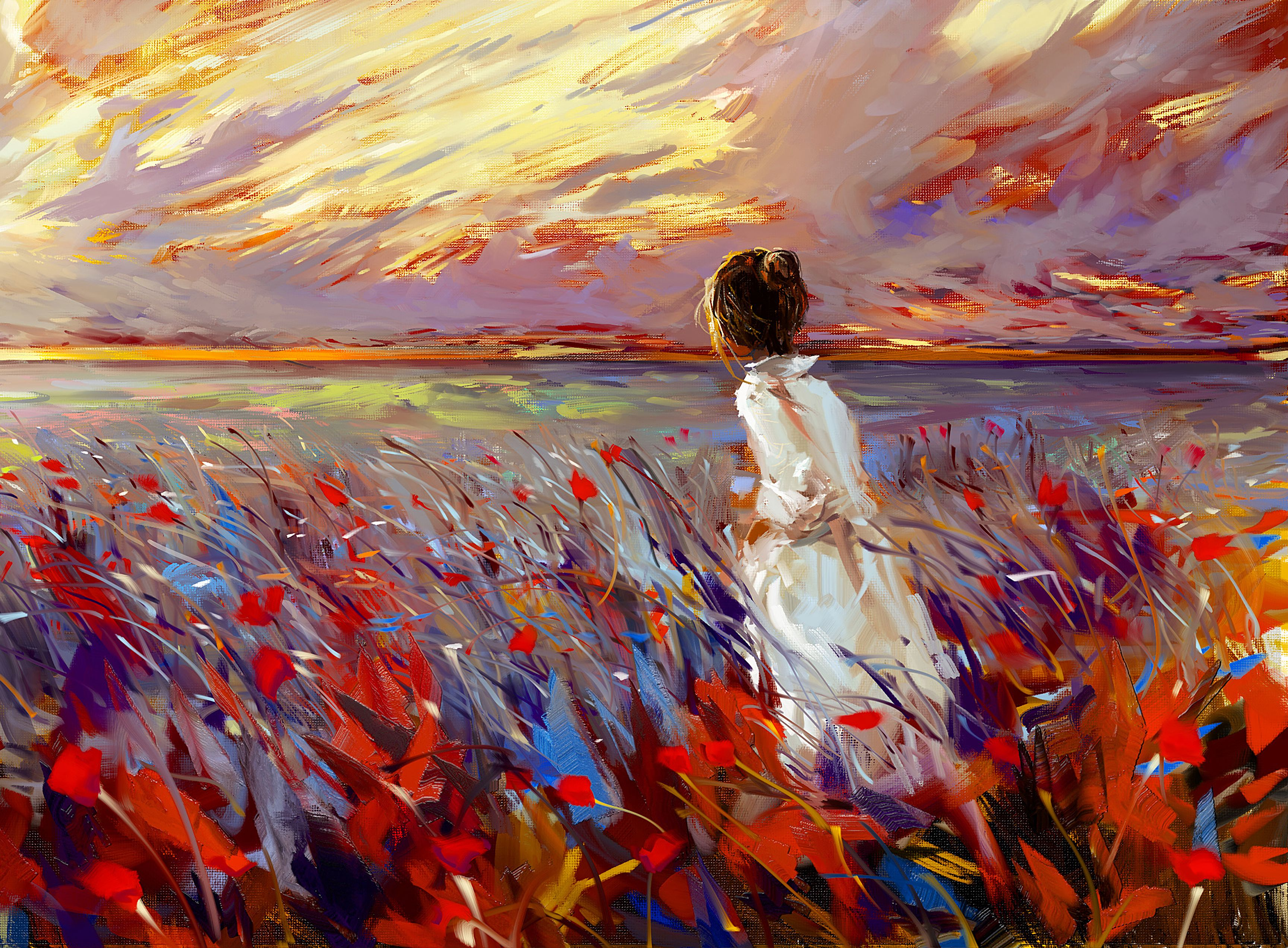 109360 download wallpaper Art, Girl, Flowers, Grass, Bright, Field screensavers and pictures for free