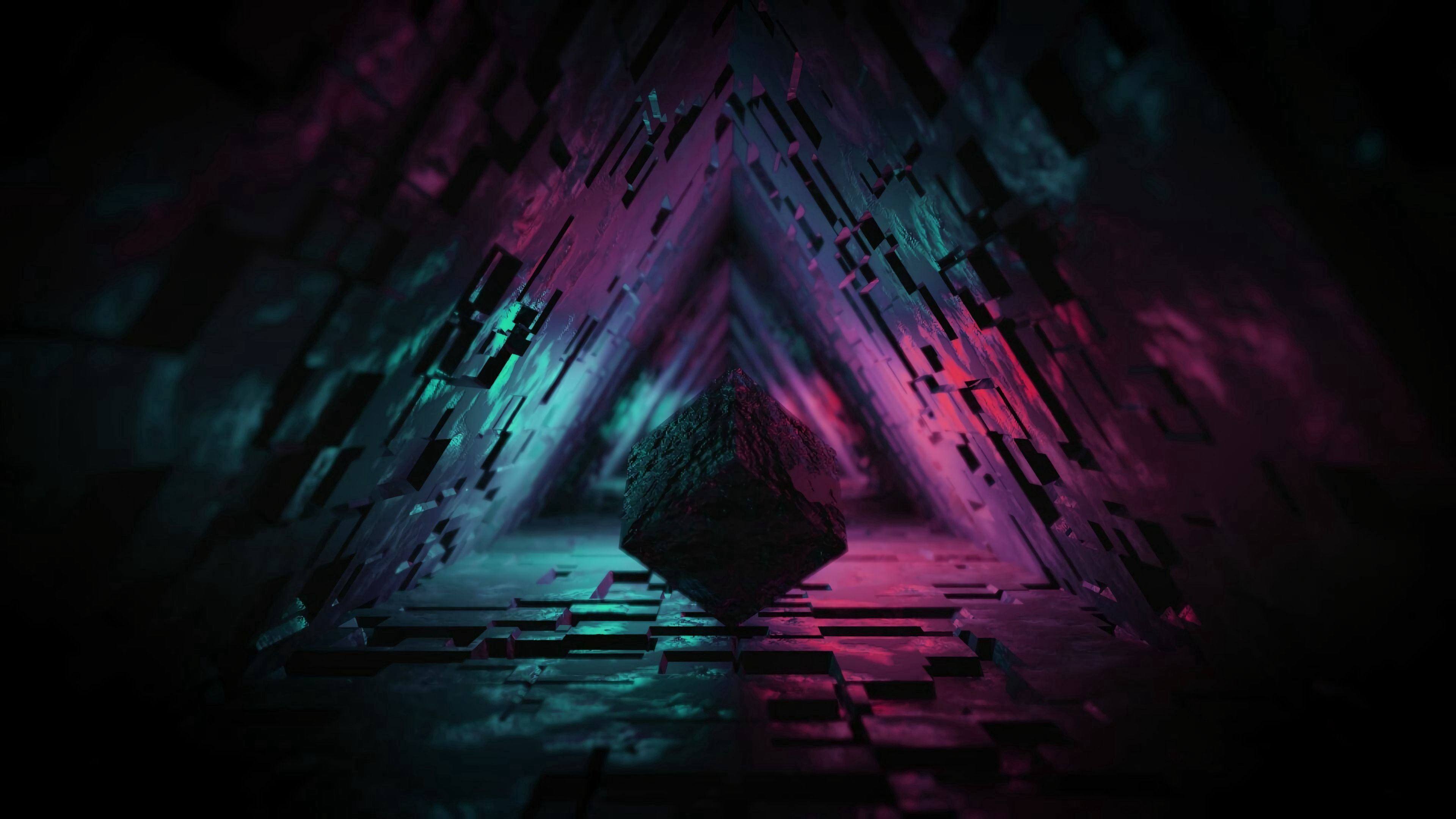 148780 download wallpaper 3D, Dark, Backlight, Illumination, Figure, Tunnel, Cube screensavers and pictures for free
