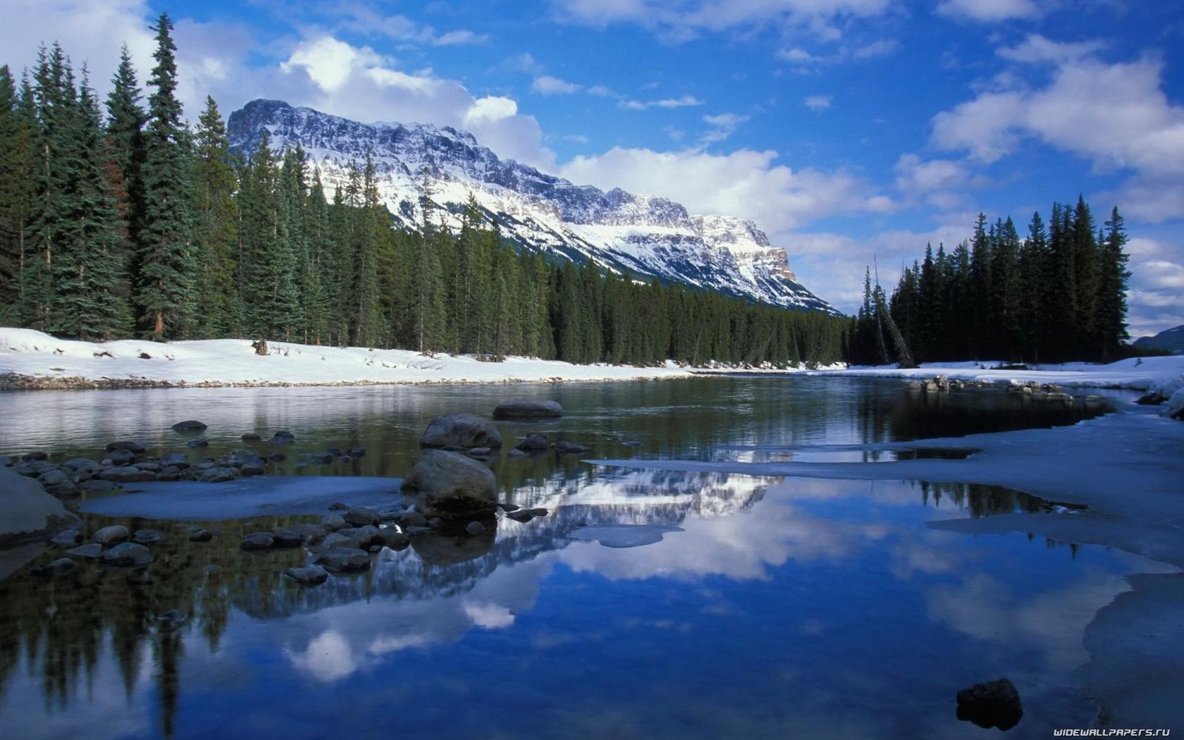 4302 скачать обои Пейзаж, Зима, Вода, Река, Деревья - заставки и картинки бесплатно