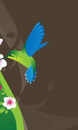 12491 скачать обои Животные, Цветы, Птицы, Колибри, Рисунки - заставки и картинки бесплатно