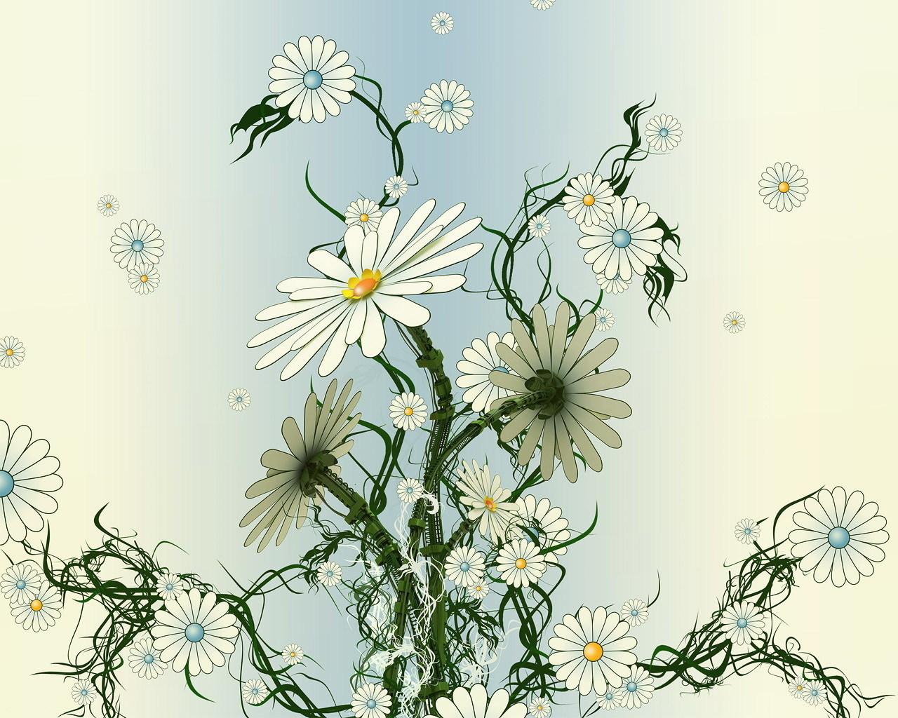 16273 скачать обои Растения, Цветы, Ромашки, Рисунки - заставки и картинки бесплатно