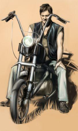 21877 скачать обои Люди, Мужчины, Мотоциклы, Рисунки - заставки и картинки бесплатно