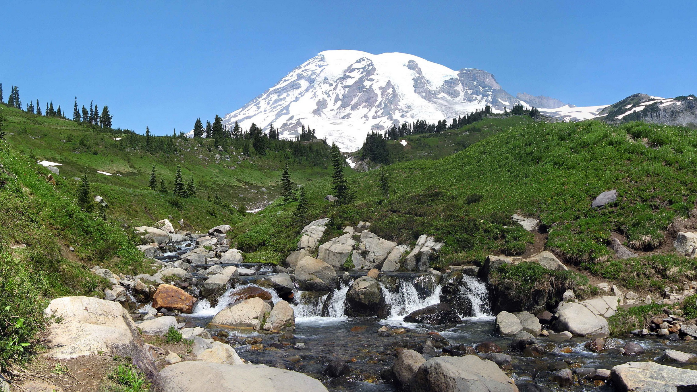 149818 download wallpaper Nature, Rainier, Washington, Usa, United States, Rivers, Mountains screensavers and pictures for free