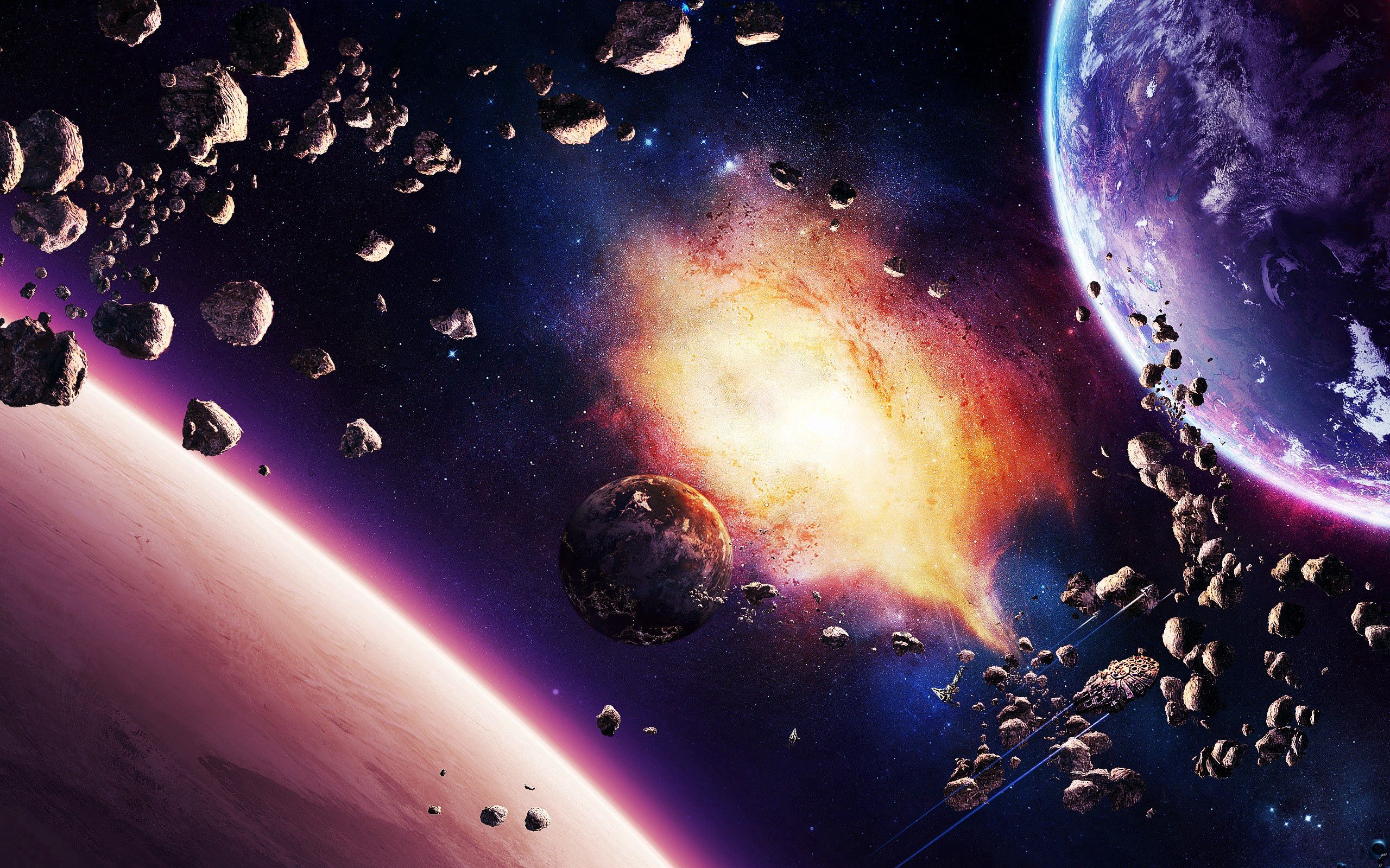 65738 download wallpaper Universe, Planet, Explosion, Shine, Light screensavers and pictures for free